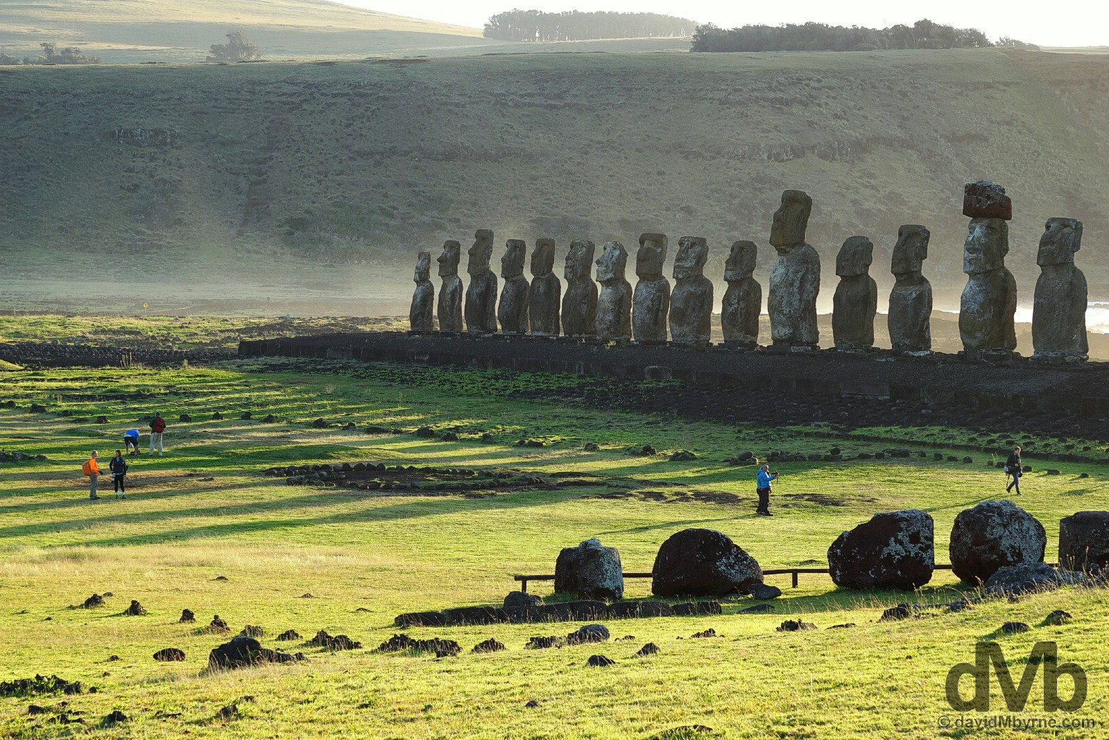 Post sunrise shadows at Ahu Tongariki on Easter Island, Chile. October 3, 2015.