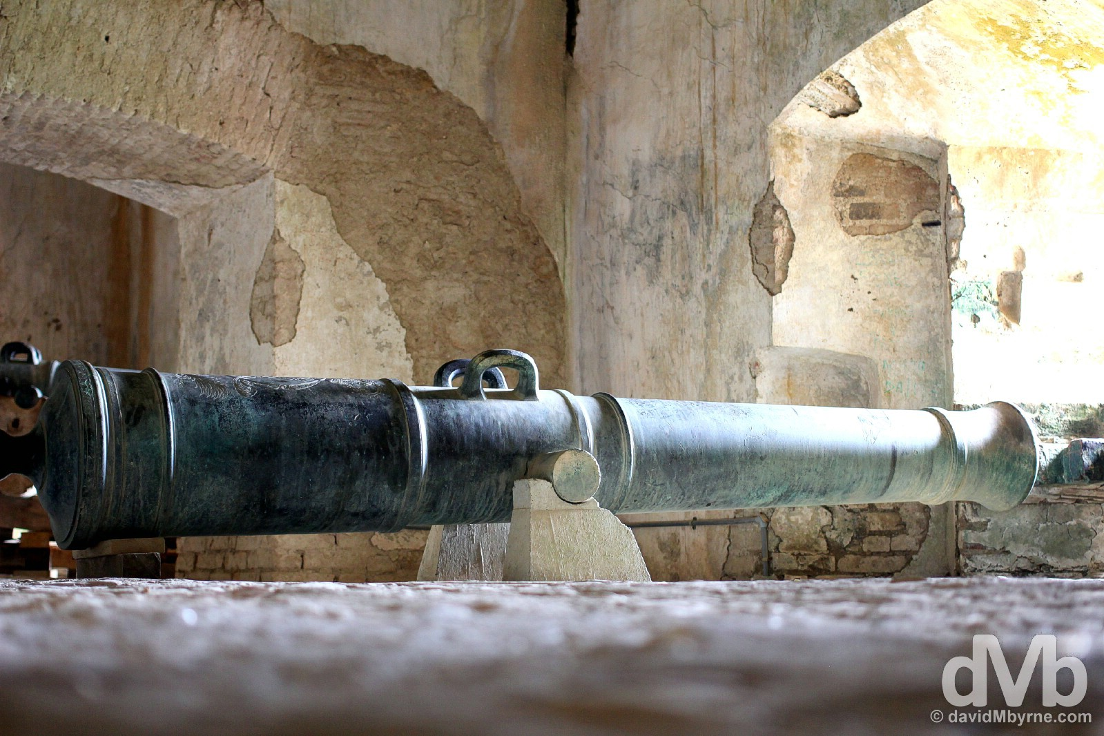 A cannon in the UNESCO-listed Citadelle Laferrière in northern Haiti, Hispaniola, Greater Antilles. May 22, 2015.
