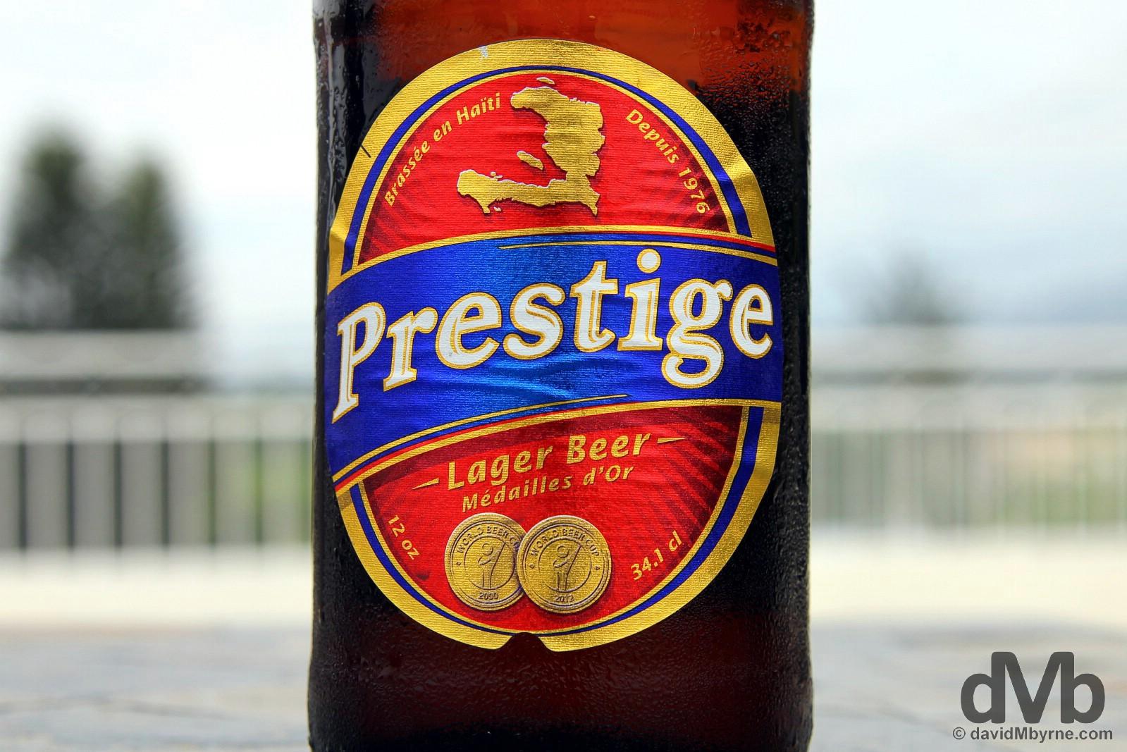 Prestige Beer. Estinfil Guesthouse, Port-Au-Prince, Haiti. May 24, 2015.