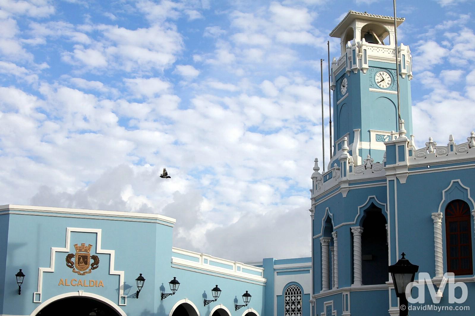 Alcaldia, the Municipality of Fajardo building overlooking Plaza de Fajardo in Fajardo, eastern Puerto Rico, Greater Antilles. June 5, 2015.
