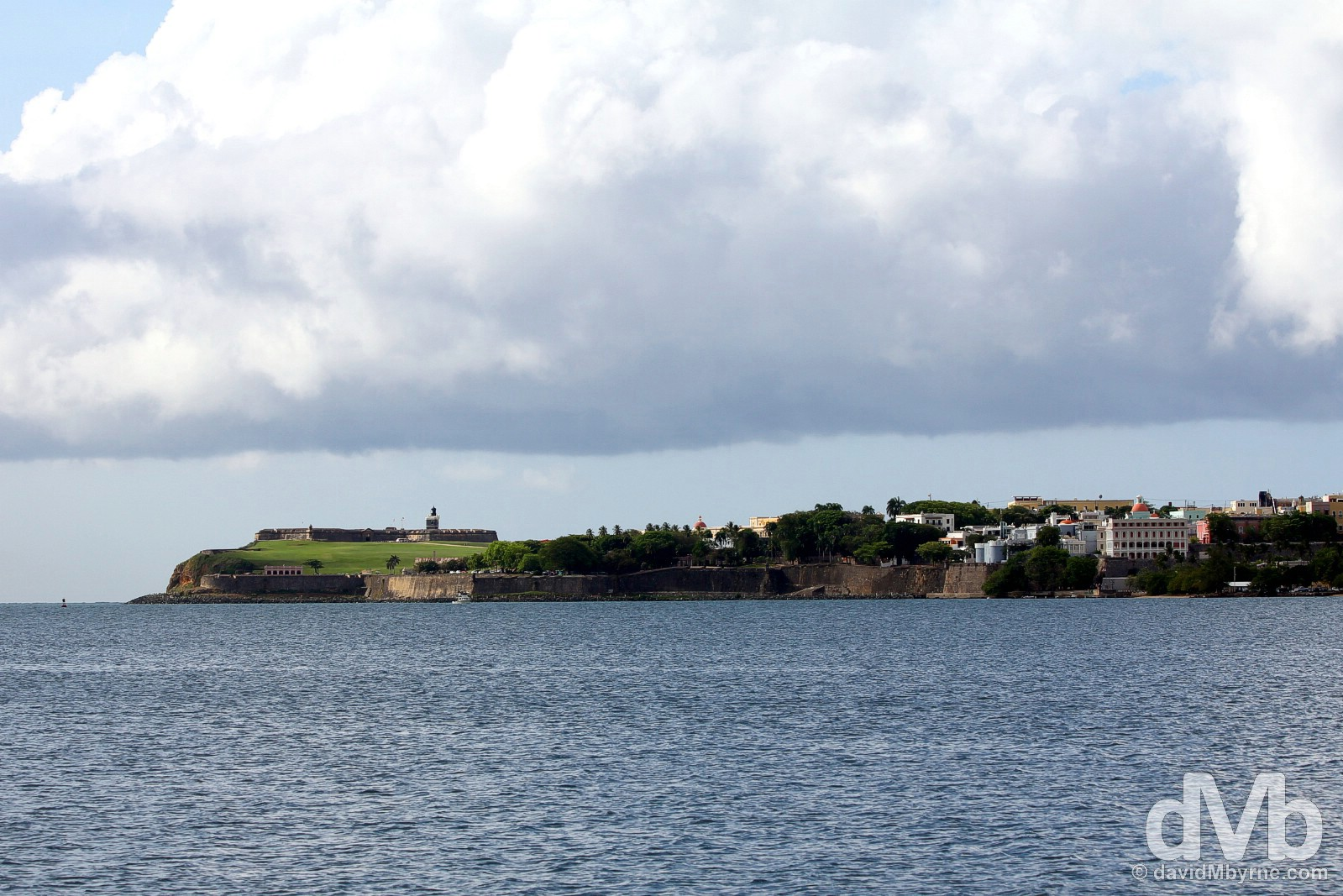 Old San Juan as seen from Bahia de San Juan in Cataño. Puerto Rico, Greater Antilles. June 2, 2015.