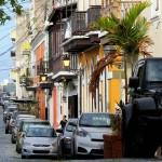 Calle de San Sabastian in Old San Juan, Puerto Rico, Greater Antilles. June 2, 2015.