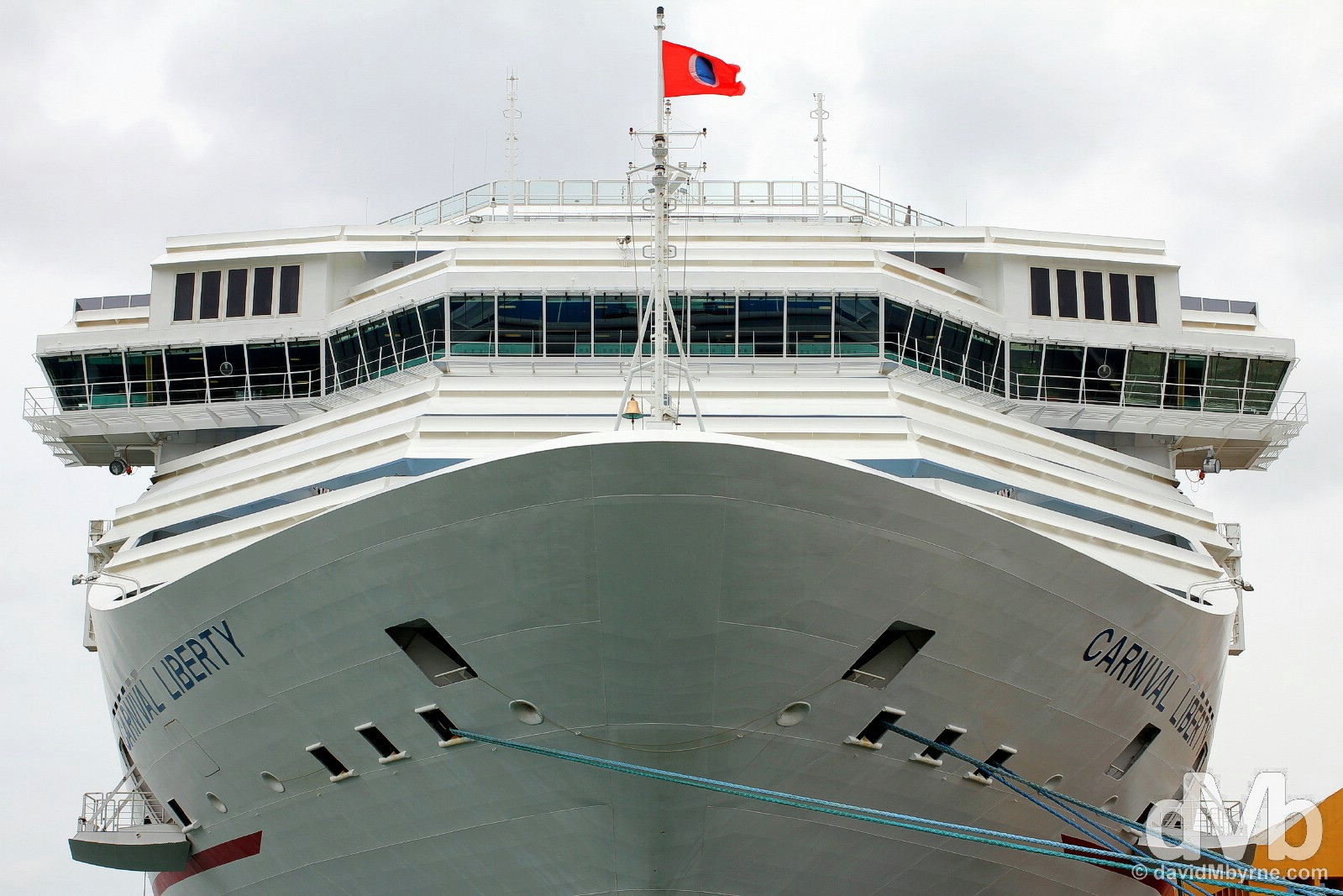 The Carnival Cruise Line's 110,000-tonne, 290 metre-long, 13 deck-high Carnival Liberty cruise ship docked in Old San Juan, Puerto Rico, Greater Antilles. May 31, 2015.