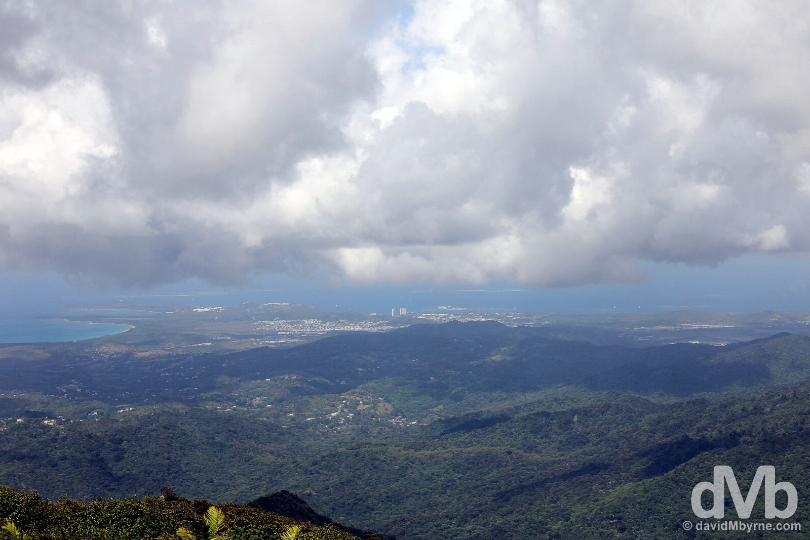 Eastern Puerto Rico from the highest point in El Yunque National Forest, Puerto Rico, Greater Antilles. June 5, 2015.
