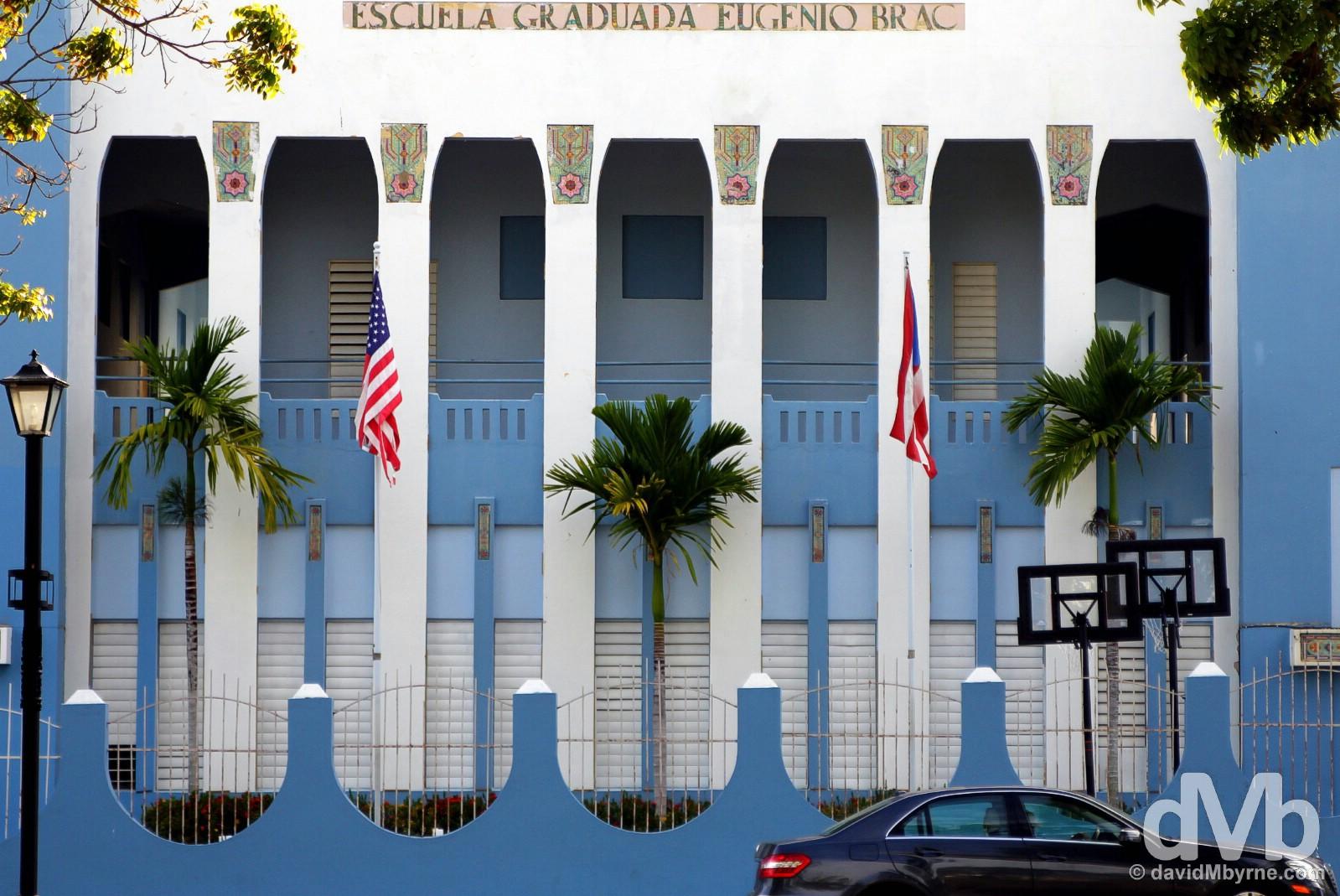 Escuela Graduada Eugenio Brac off Plaza de Fajardo in Fajardo, eastern Puerto Rico, Greater Antilles. June 5, 2015.