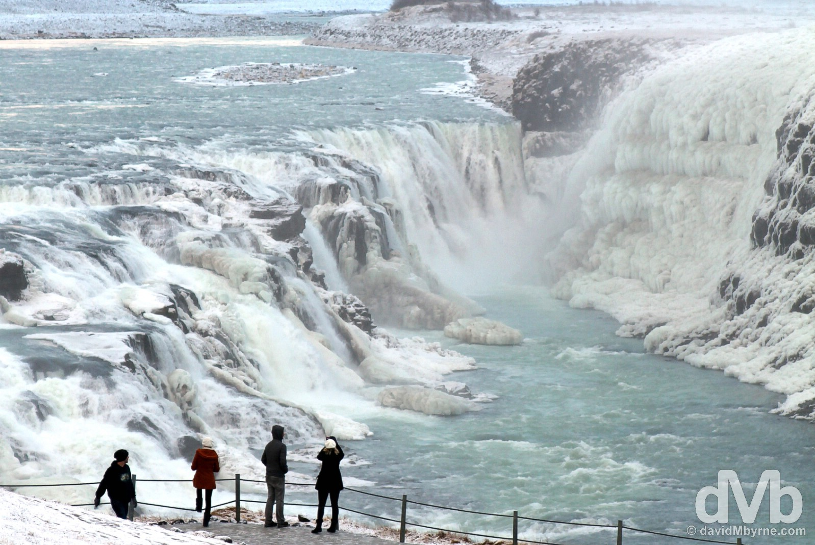 Overlooking the Gullfoss waterfall in south west Iceland. December 3, 2012.