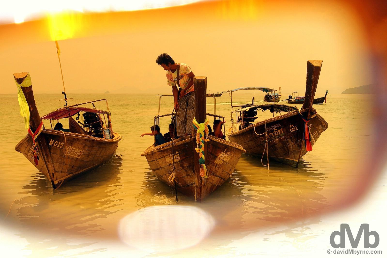 Arriving on Hat Rai Leh West Beach, Krabi, southern Thailand. March 17, 2012.