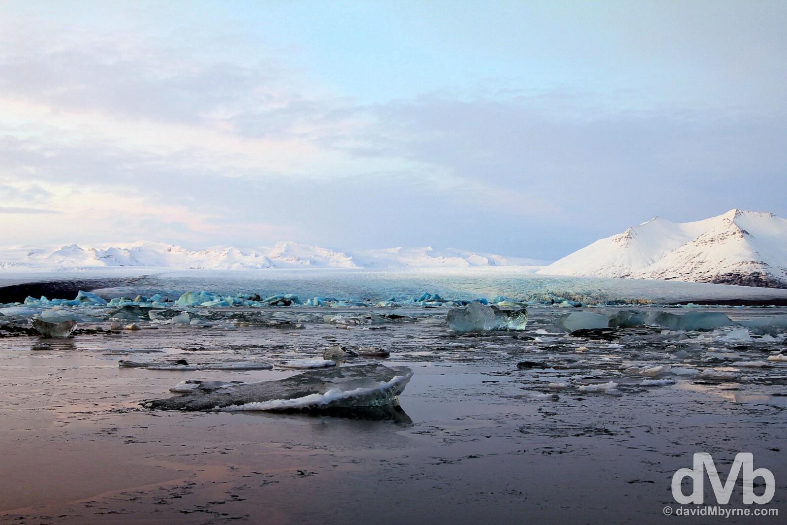 Jökulsárlón glacial lagoon, southern Iceland. December 4, 2012.