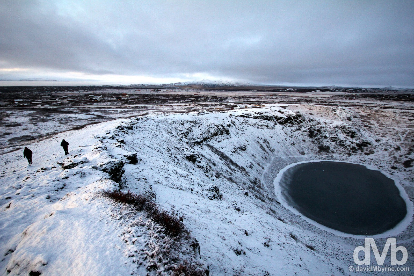 Walking by the rim of the 6,500-year-old Kerio crater in southwest Iceland. December 3, 2012.