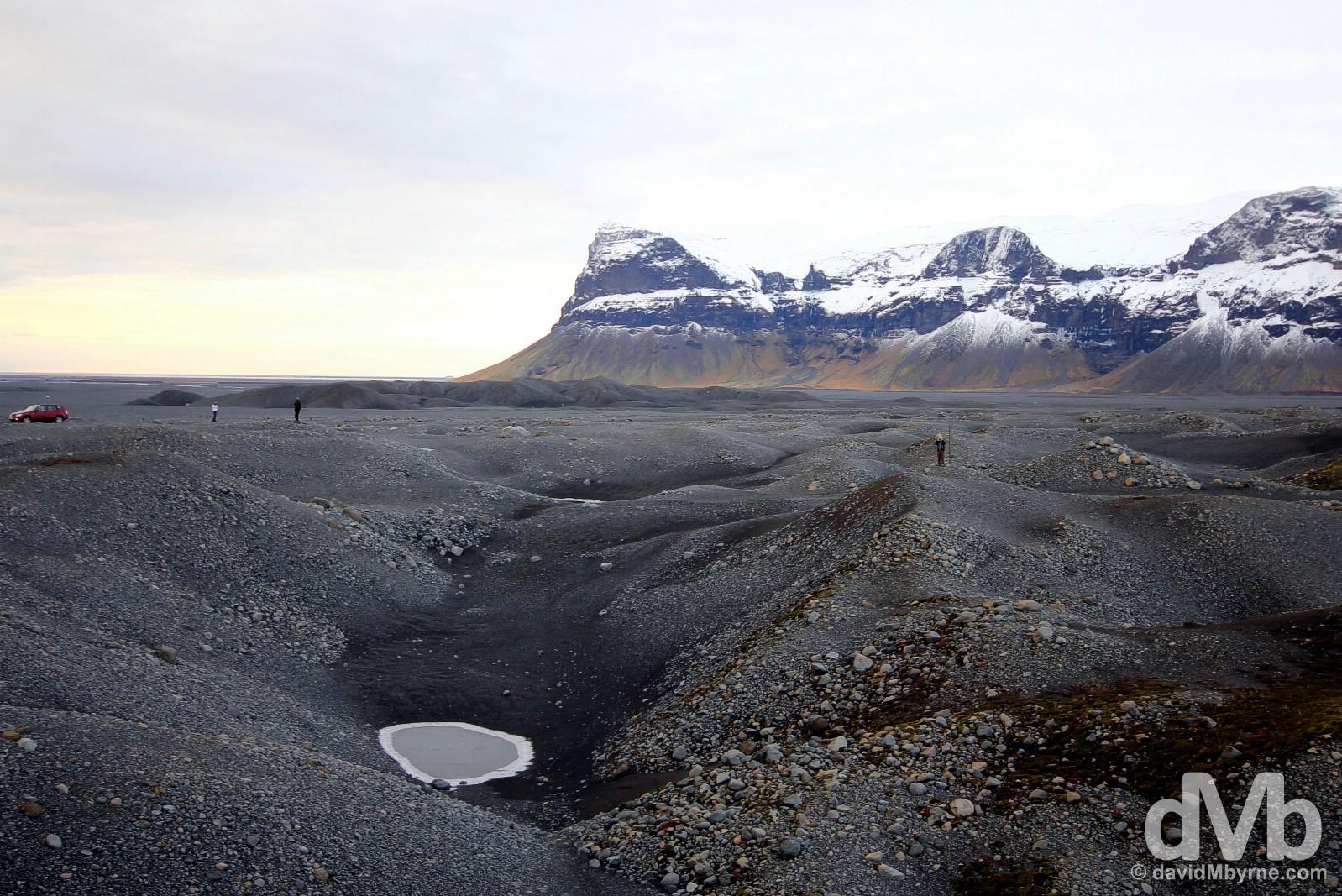 Surveying the desolation at Mýrdalssandur, southern Iceland. December 4, 2012.