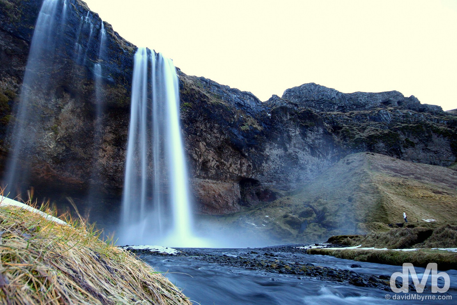 Seljalandsfoss Waterfall, just off Route 1, on the road from Reykjavik to Vik, southern Iceland. December 4, 2012.