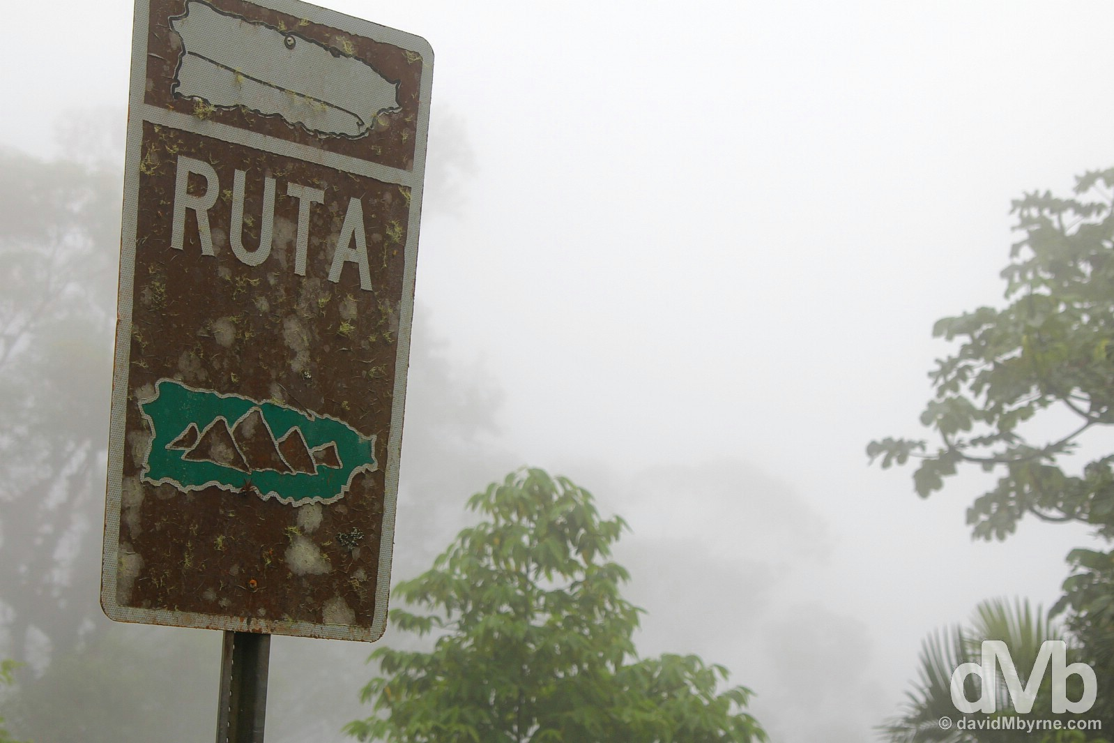 Signage on Ruta Panoramica, central Puerto Rico, Greater Antilles. June 4, 2015.