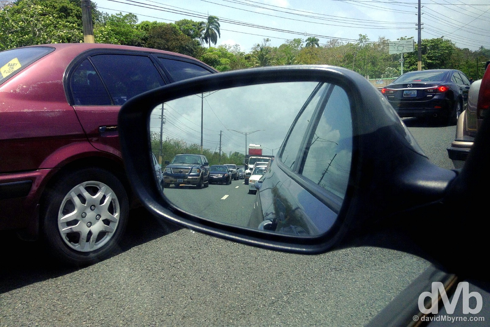 A flight-missing traffic jam on Highway 3 (PR-3) outside Fajardo eastern Puerto Rico, Greater Antilles. June 6, 2015.