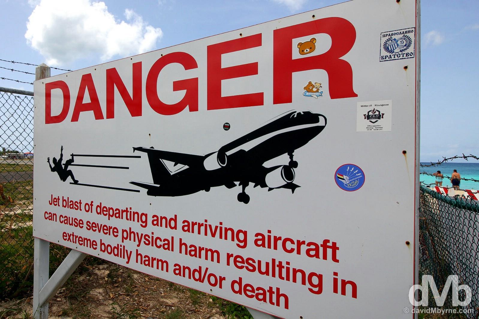 Danger. Signage at Maho Bay, Sint Maarten, Lesser Antilles. June 9, 2015.