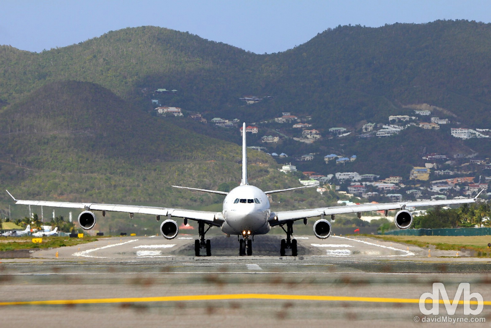 Taxiing for take-off at Juliana Airport, Sint Maarten, Lesser Antilles. June 8, 2015.
