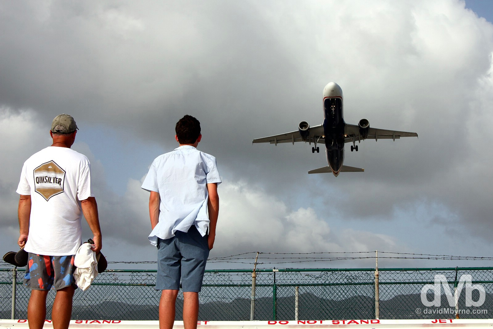 Take-off from Juliana Airport as viewed from Maho Beach, Sint Maarten, Lesser Antilles. June 7, 2015.