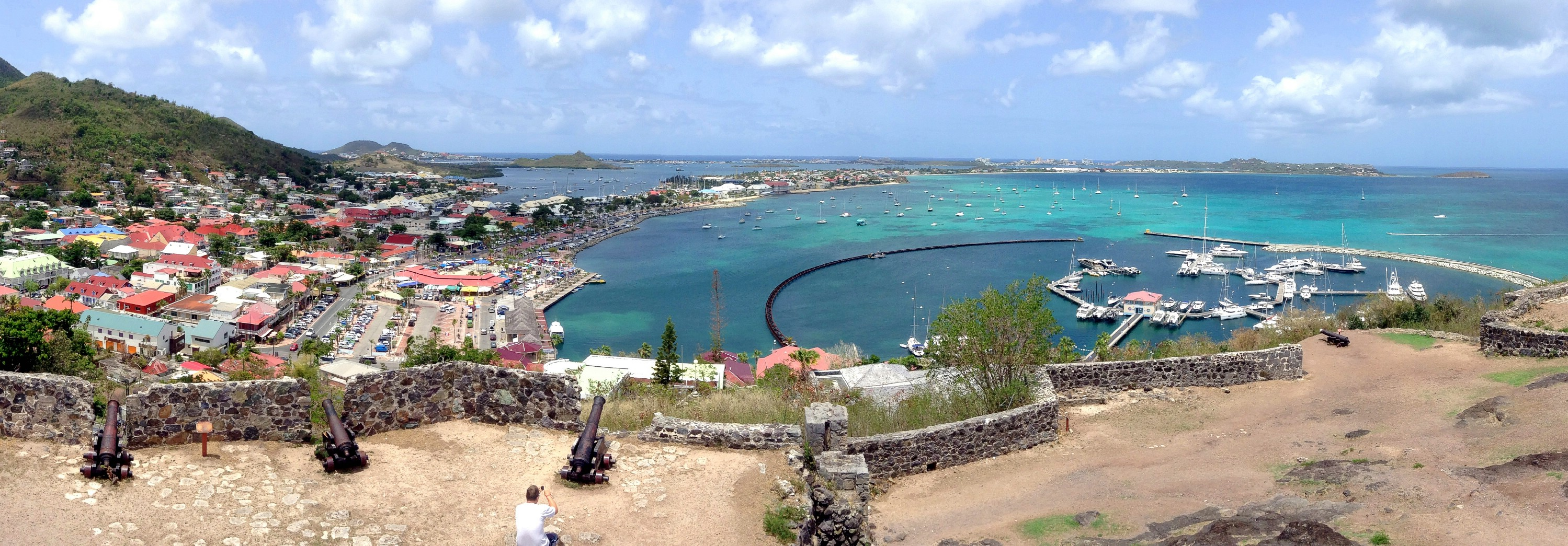 A panorama of the view from Fort Louis overlooking the town of Marigot, Saint Martin, Lesser Antilles. June 8, 2015.