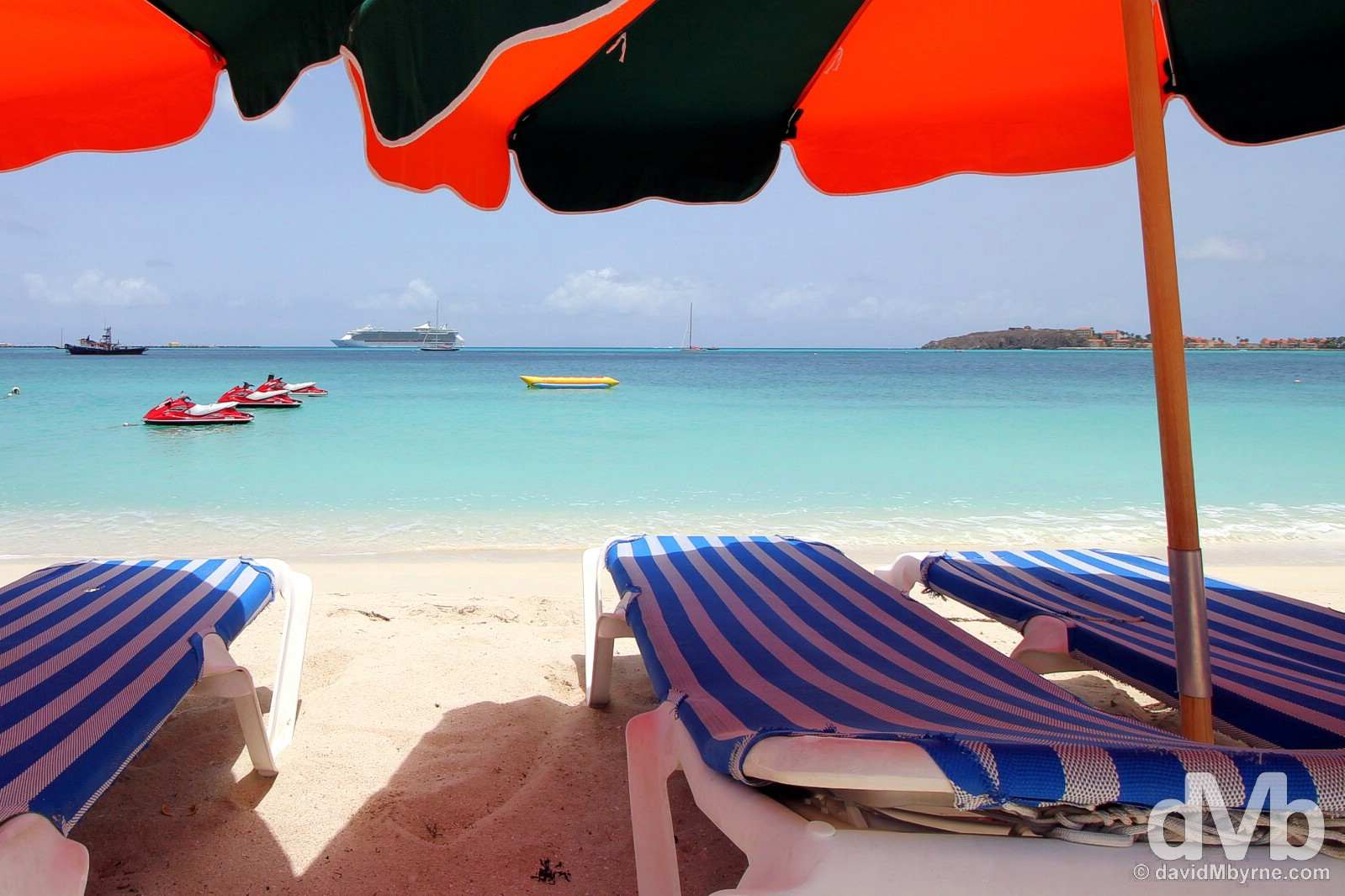 The beach in Philipsburg, Sint Maarten, Lesser Antilles. June 8, 2015.