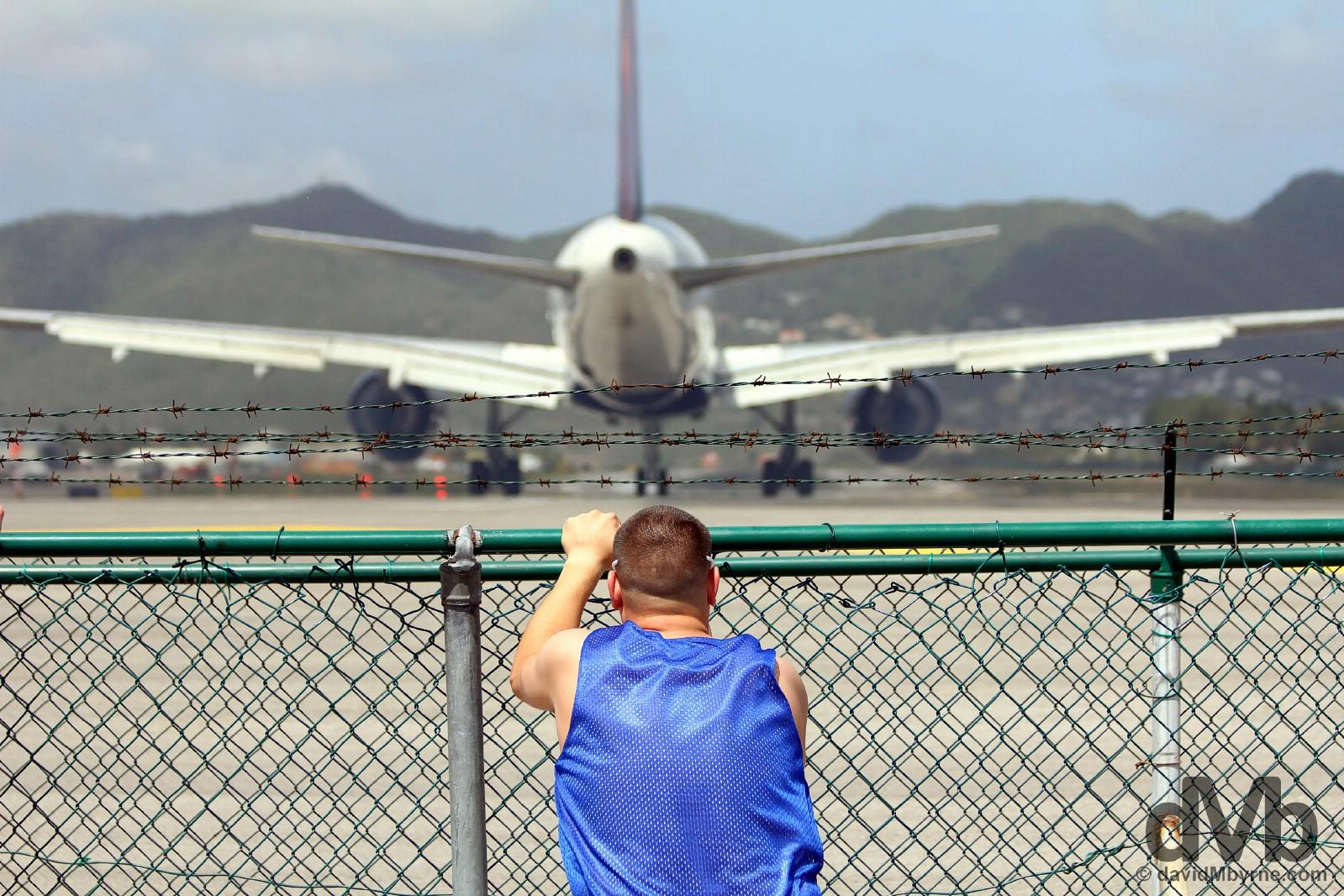 Riding The Fence. Maho Bay, Sint Maarten, Lesser Antilles. June 8, 2015.