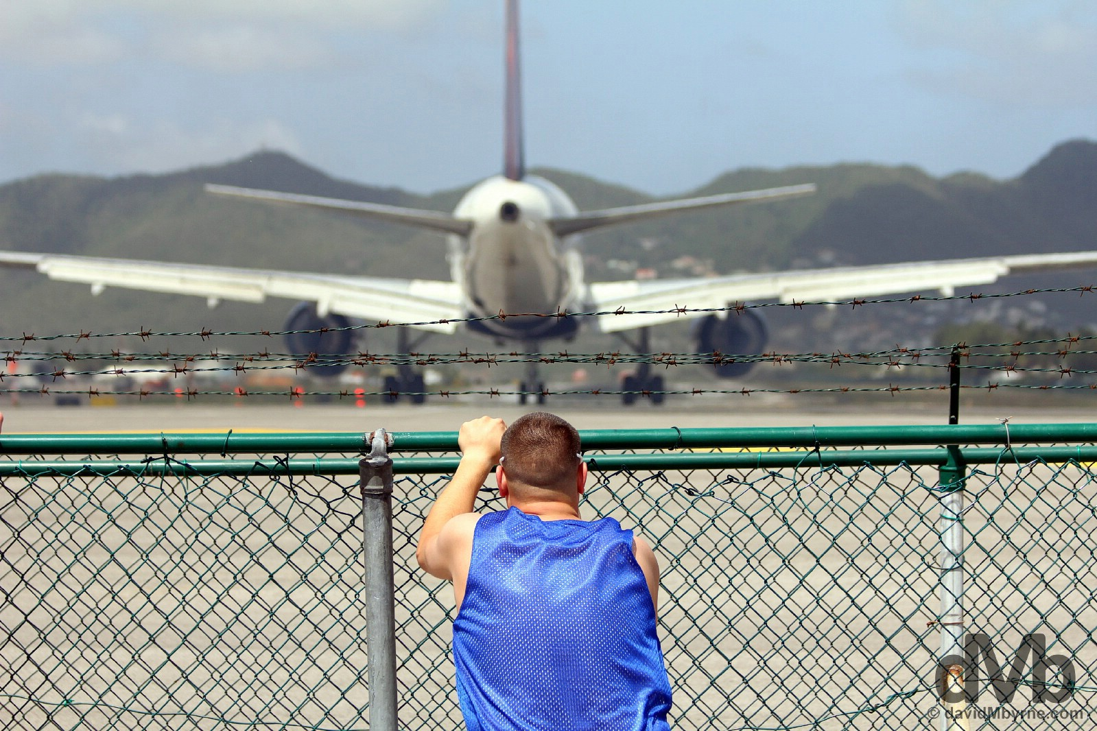 Riding The Fence. Maho Bay, Sint Maarten, Lesser Antilles. June 8, 2015.