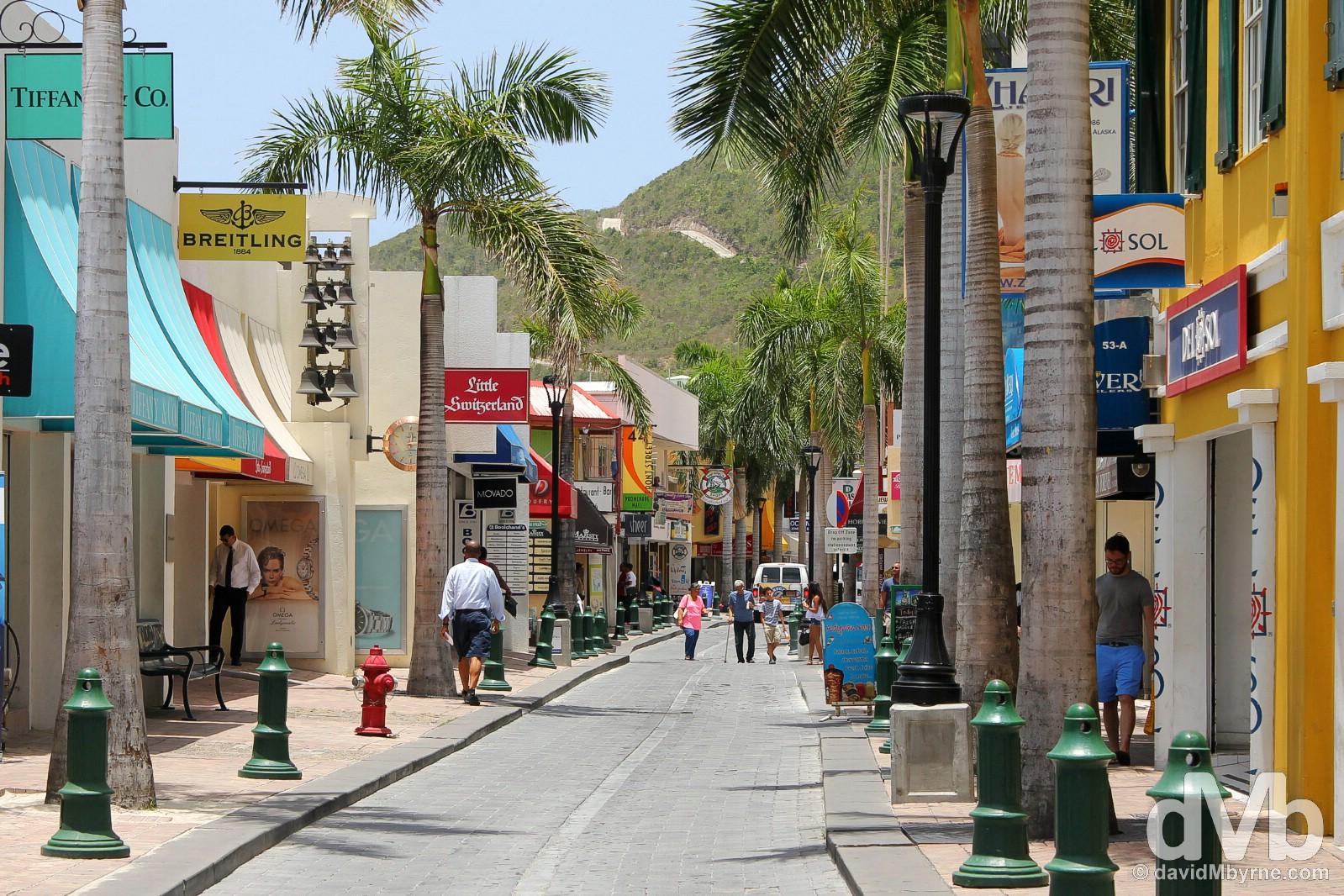 Shopping in Philipsburg, Sint Maarten, Lesser Antilles. June 8, 2015.
