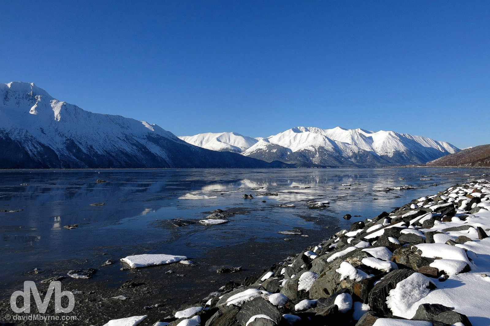 Early morning at Turnagain Arm of Cook Inlet off the Seward Highway, Alaska, USA. March 12, 2013.
