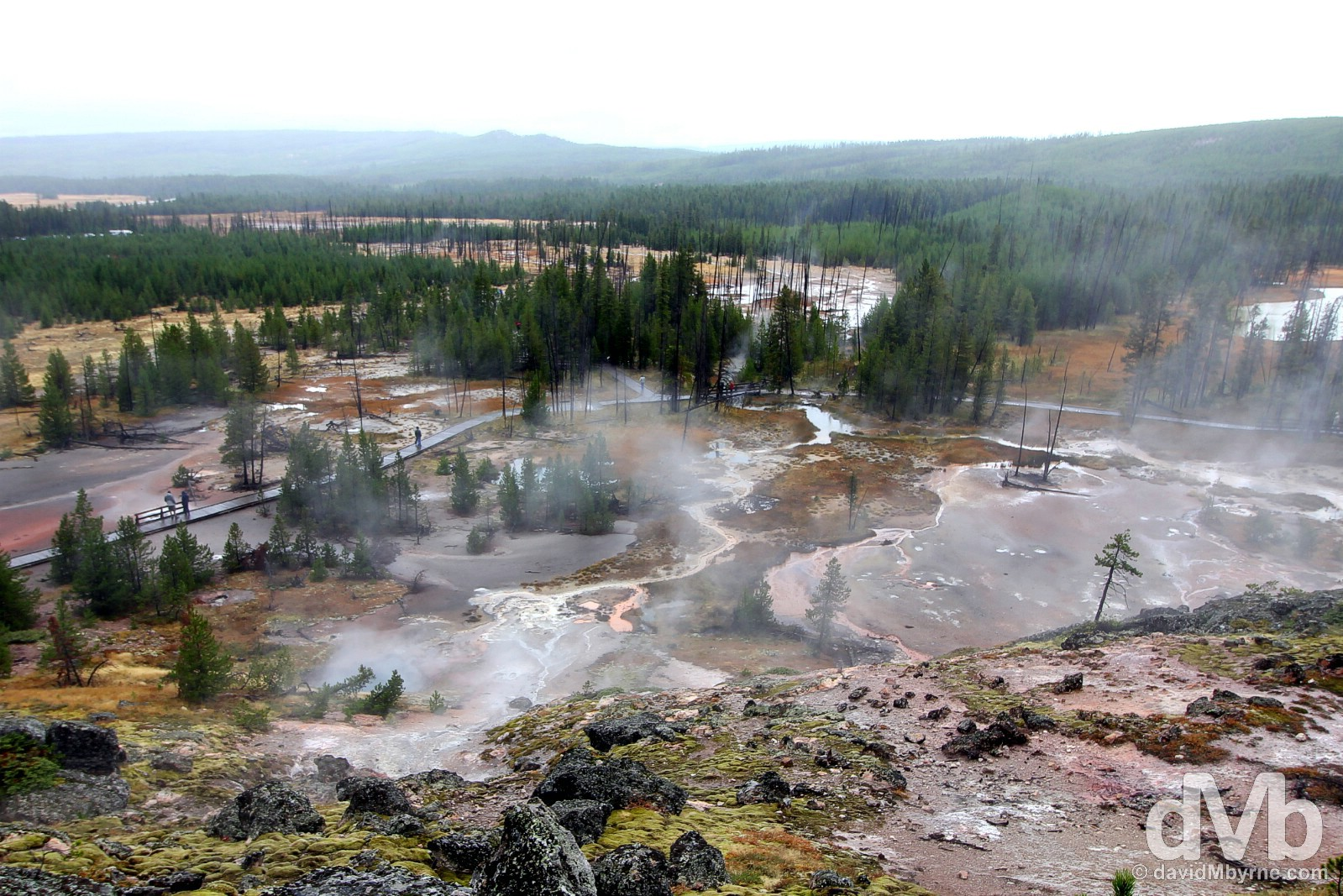 The Artists Paintpots geothermal feature of Yellowstone National Park, Wyoming, USA. September 5, 2016.