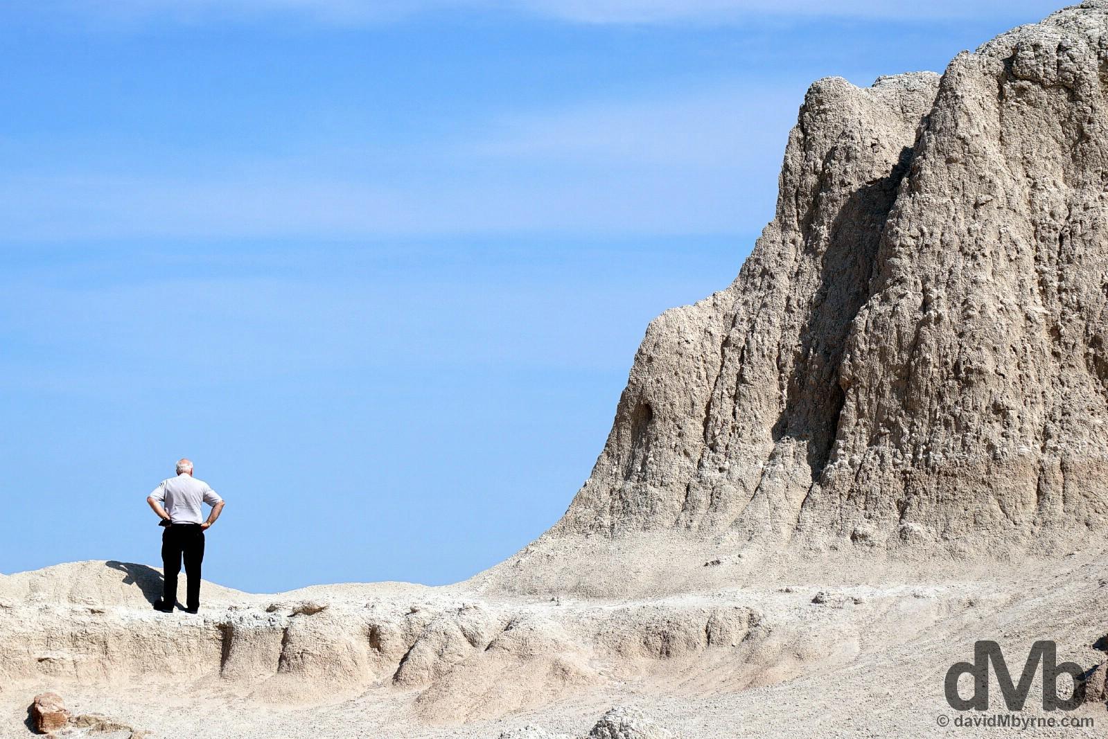 Among the rock formations of Badlands National Park, South Dakota. September 1, 2016.