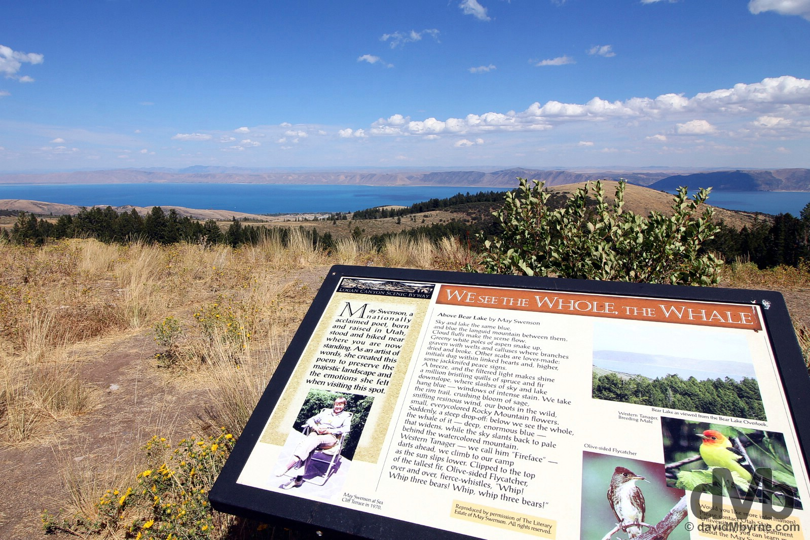 Signs on the Bear Lake overlook of the Logan Canyon Scenic Byway of US Highway 89 in northern Utah, USA. September 6, 2016.