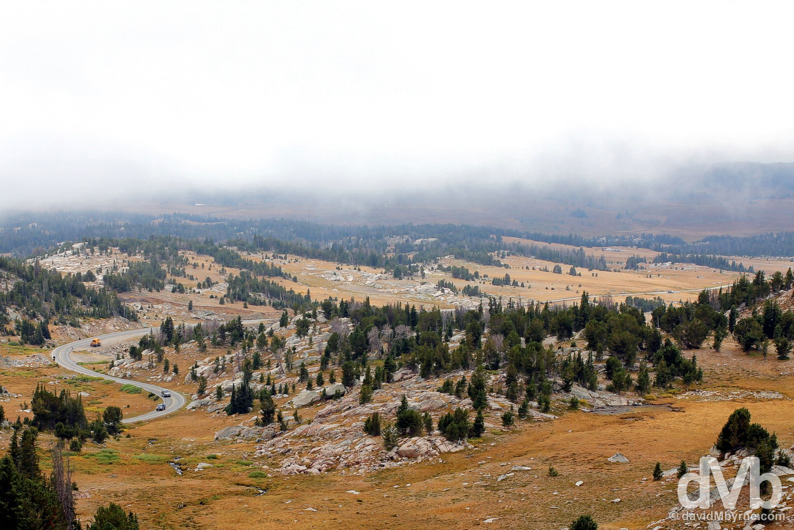 A section of U.S. Route 212, the All-American Beartooth Highway, en route to Yellowstone National Park, Wyoming, USA. September 4, 2016.