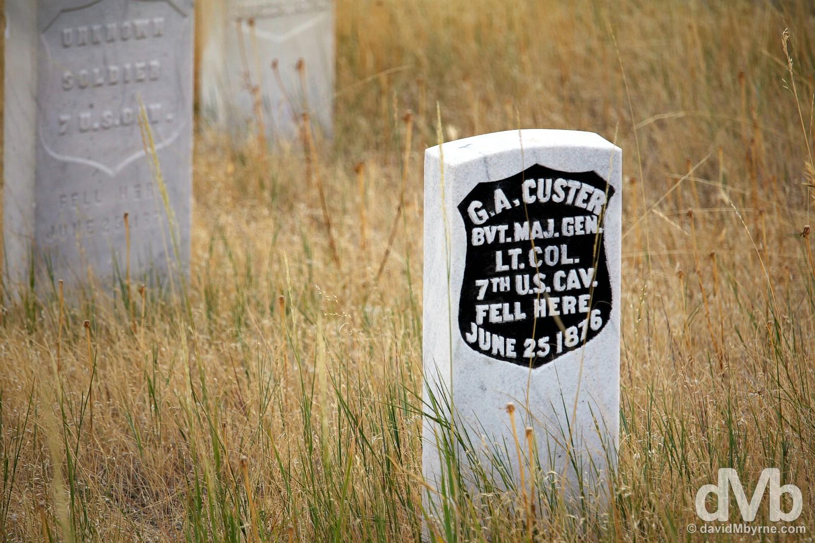 Custer marker stone, Little Bighorn Battlefield National Monument, Montana, USA. September 3, 2016.