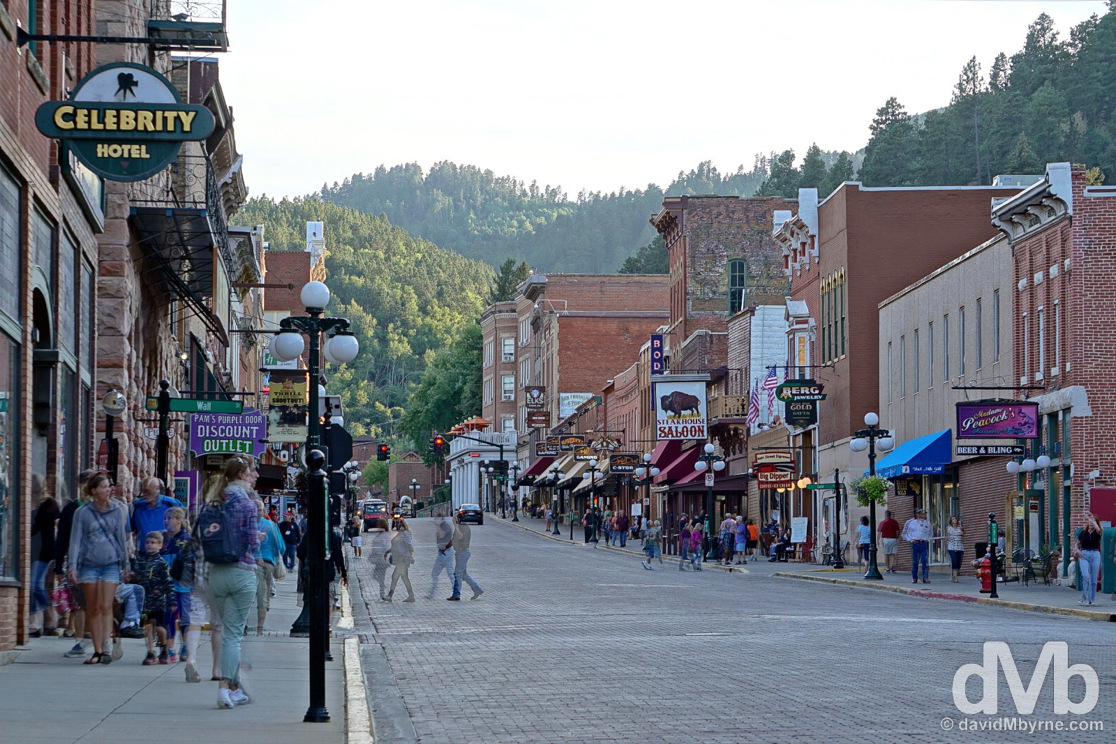 Dusk on Historic main street Deadwood, the Black Hills, South Dakota, USA. September 1, 2016.