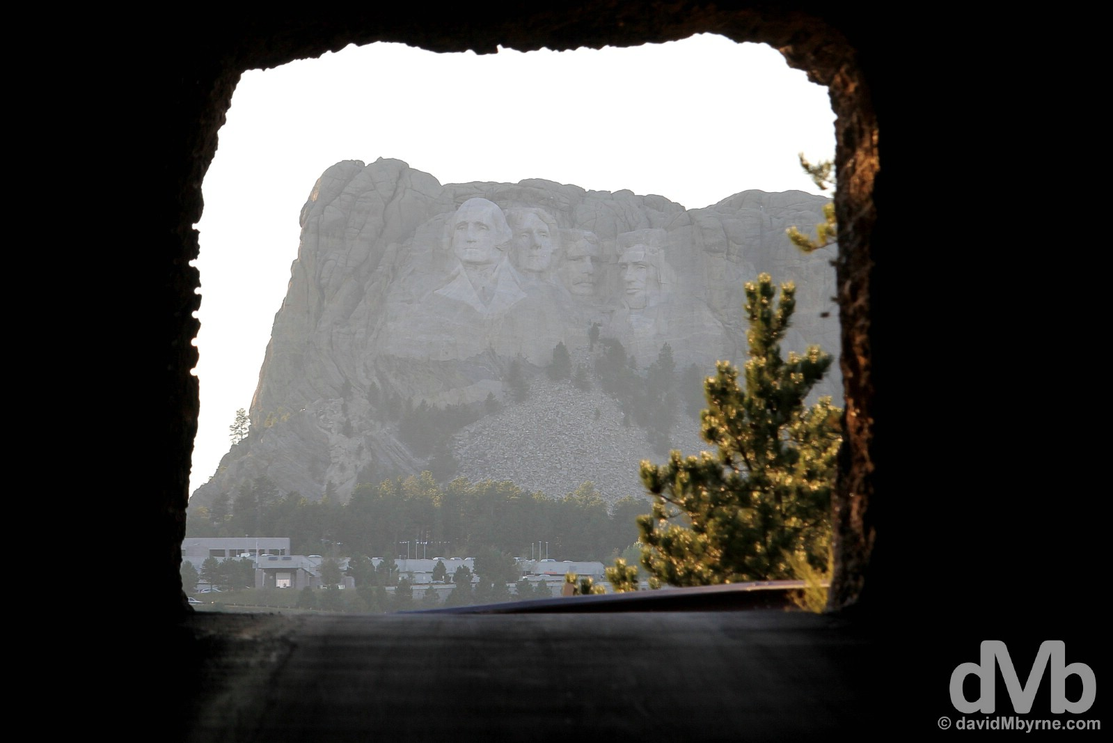 Mount Rushmore National Monument as seen through the Doane Robinson Tunnel of the Needles Highway of Custer State Park, Black Hills, South Dakota. September 2, 2016.