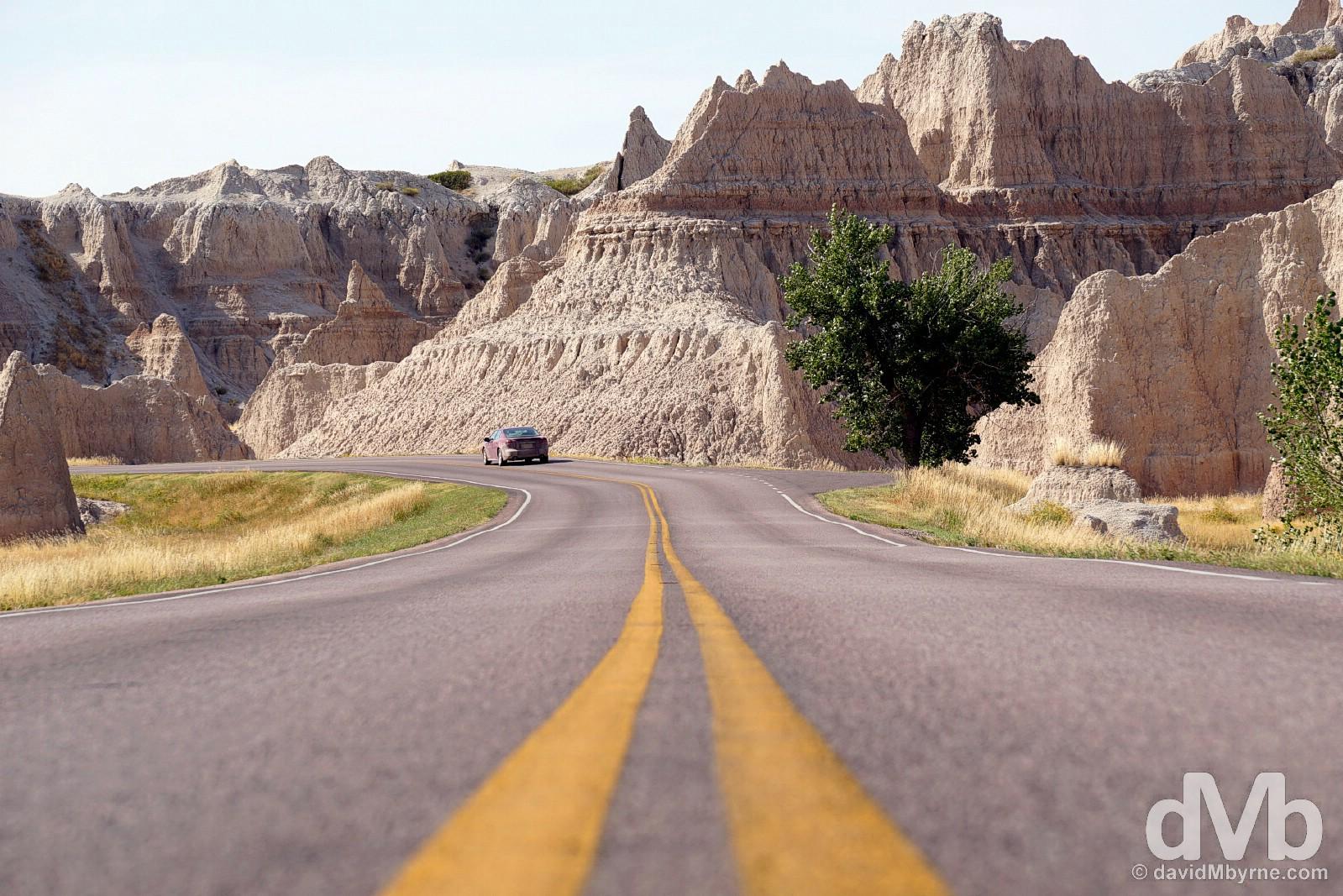 Driving a portion of the Badlands Loop in Badlands National Park, South Dakota. September 1, 2016.