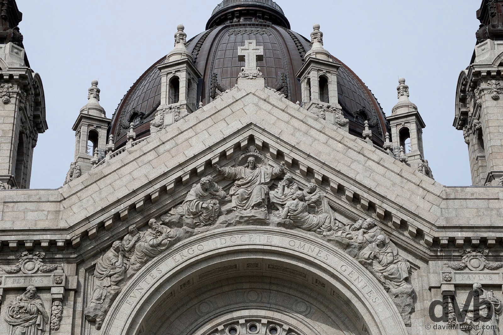 The facade of the Cathedral of Saint Paul in Saint Paul, Minnesota, USA. August 30, 2016.