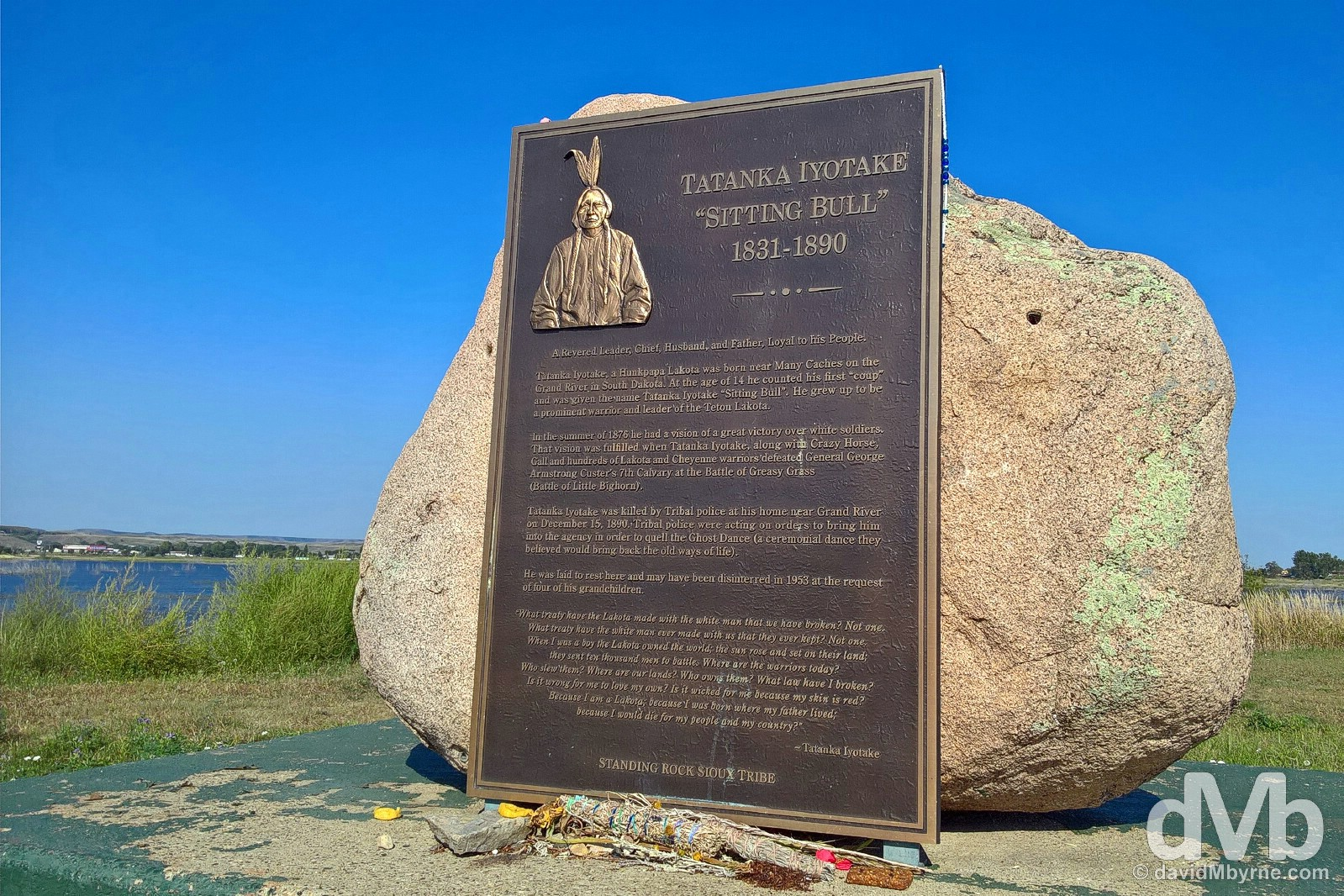 Sitting Bull Memorial by the Missouri River in Fort Yates, North Dakota. September 1, 2016.