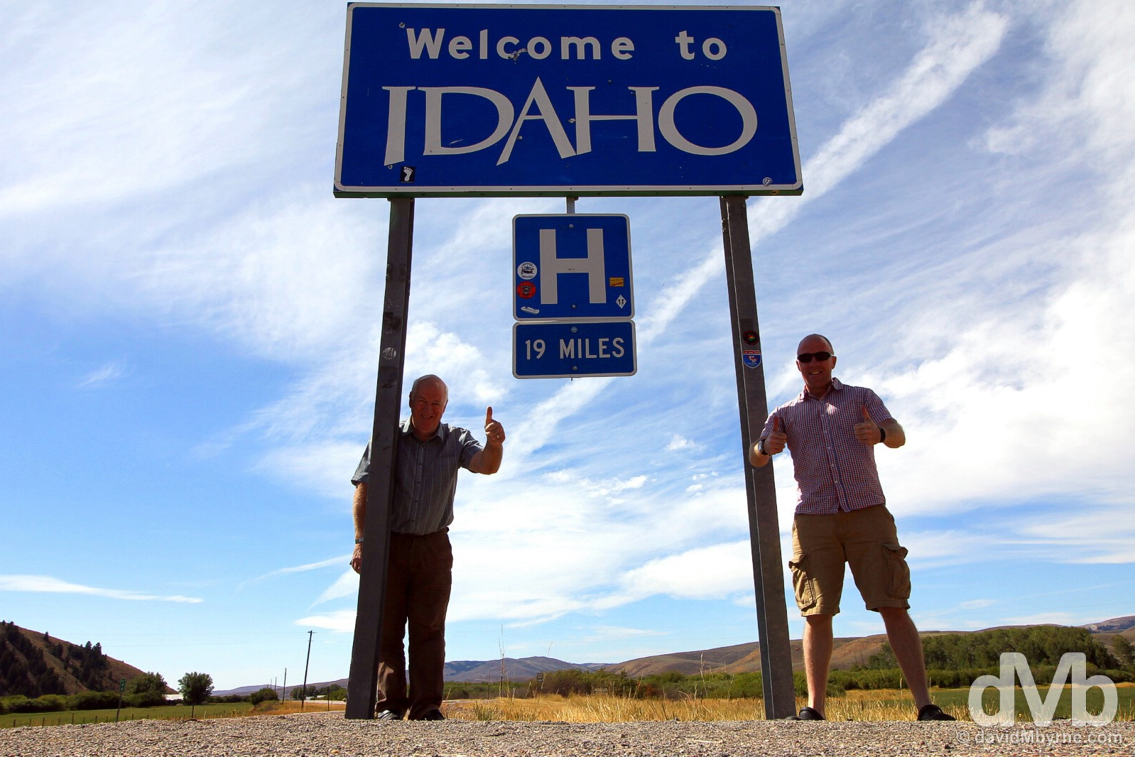 At the Wyoming - Idaho state line on U.S. Highway 89 in western Wyoming, USA. September 6, 2016.
