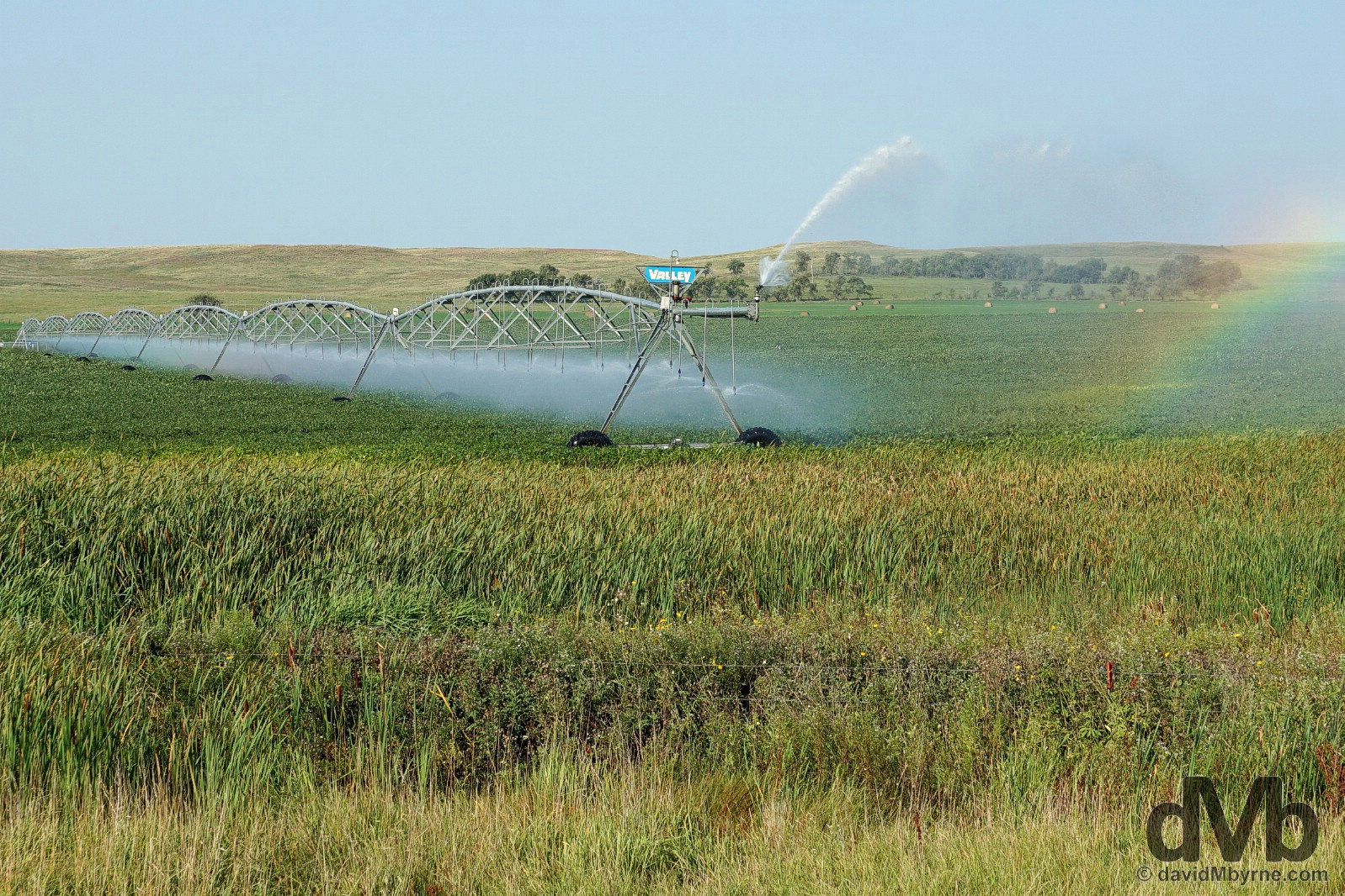 Irrigation outside Cannon Ball, Sioux County, North Dakota, USA. September 1, 2016.