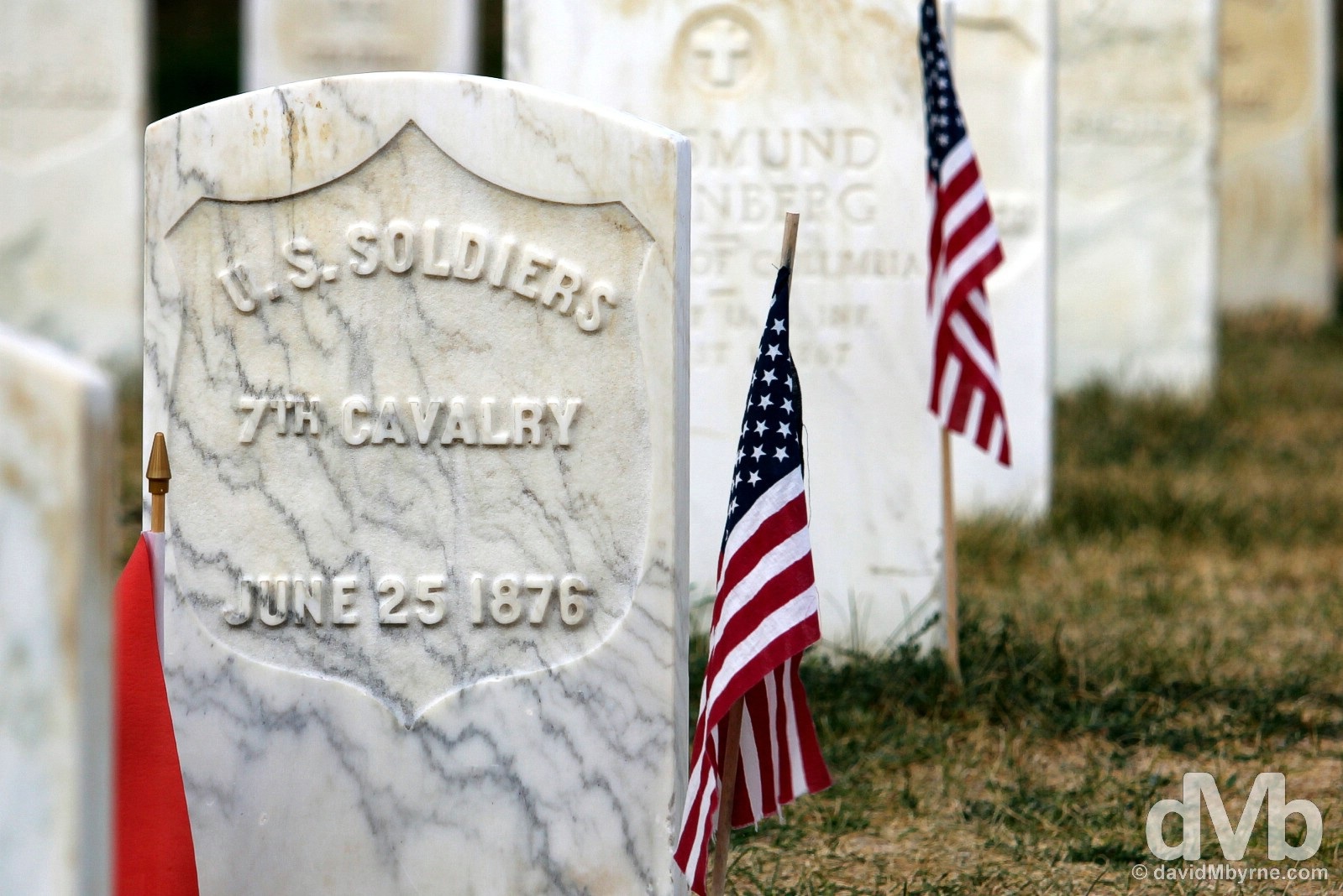 7th Cavalry marker stone, Little Bighorn Battlefield National Monument, Montana, USA. September 3, 2016.
