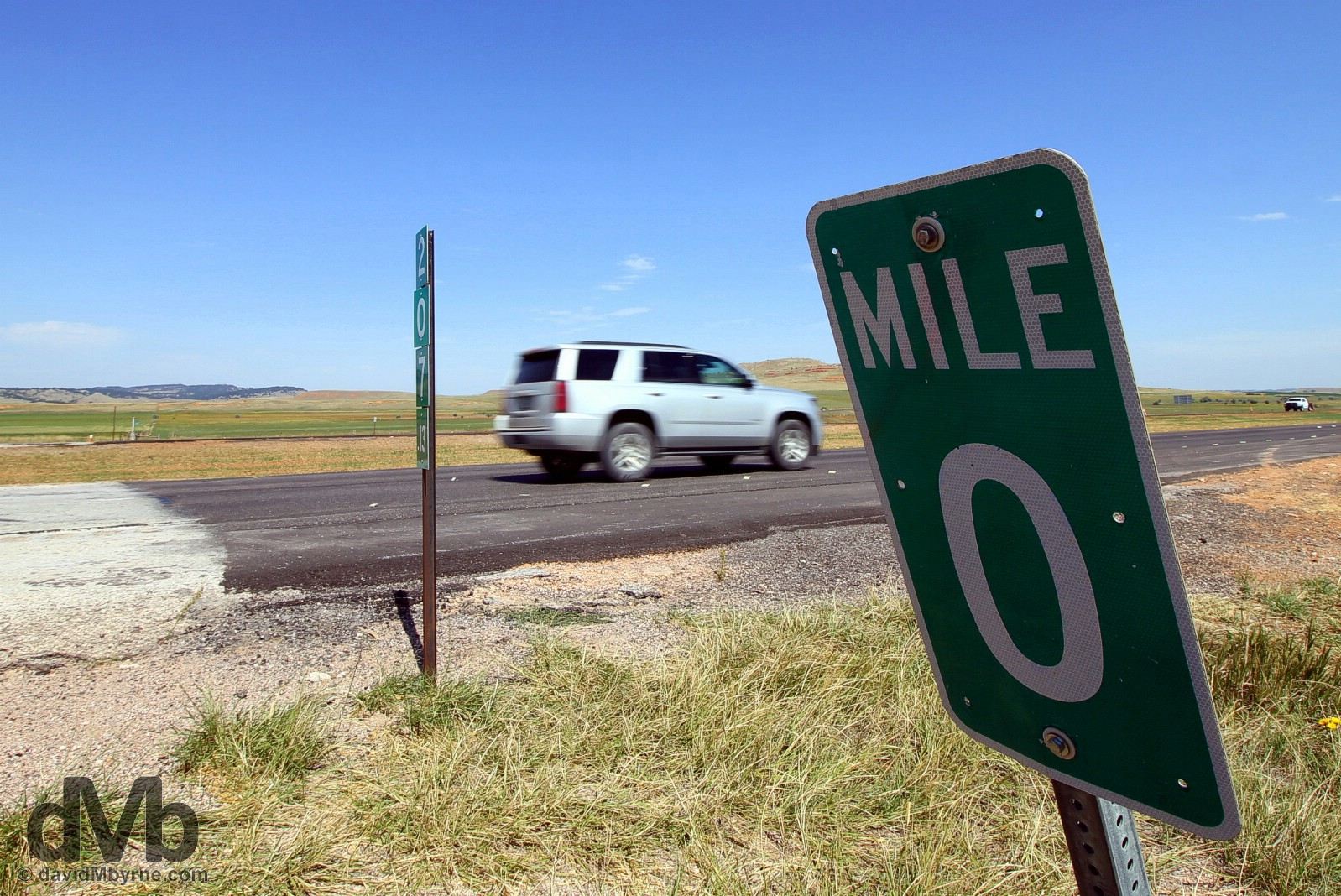 Zero mile marker on the South Dakota-Wyoming state line on Interstate 90, USA. September 3, 2016.