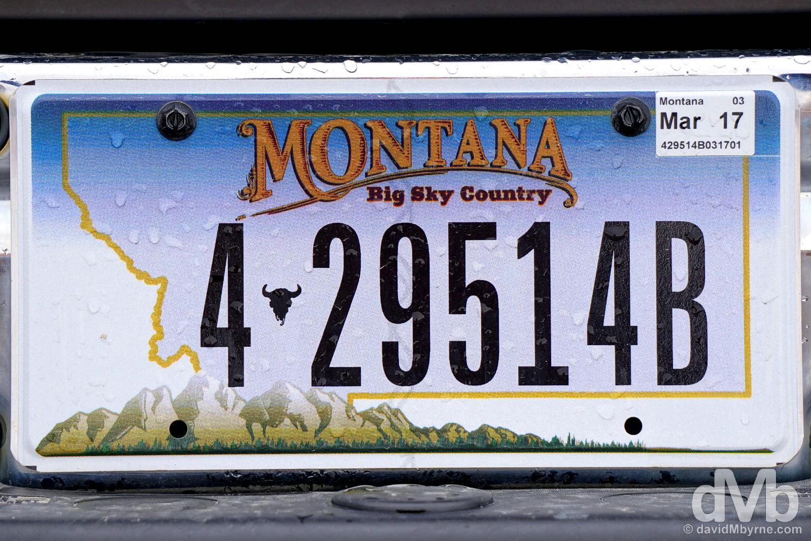 Montana plate, Beartooth Highway, Montana, USA. September 4, 2016.