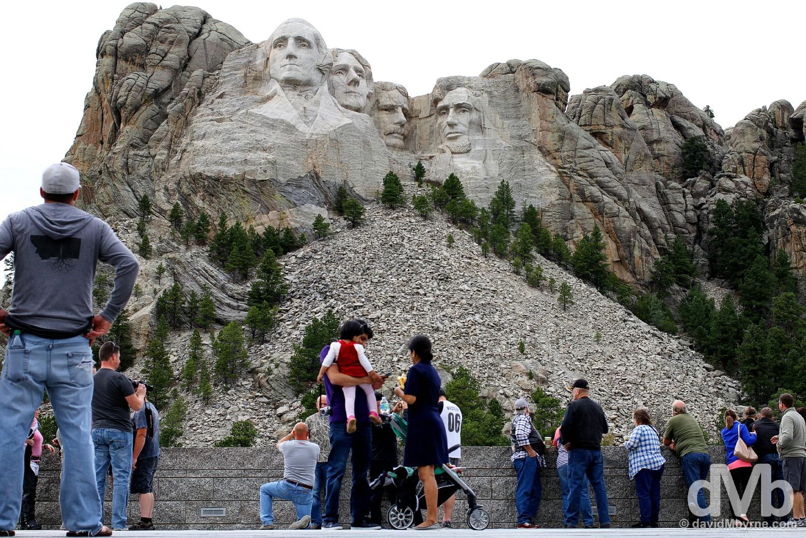 At the Grand View Terrace of Mount Rushmore National Memorial, Black Hills, South Dakota, USA. September 2, 2016.