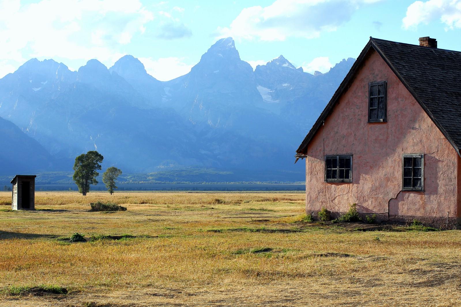 Buildings on Mormon Row in Grand Teton National Park, Wyoming, USA. September 5, 2016.