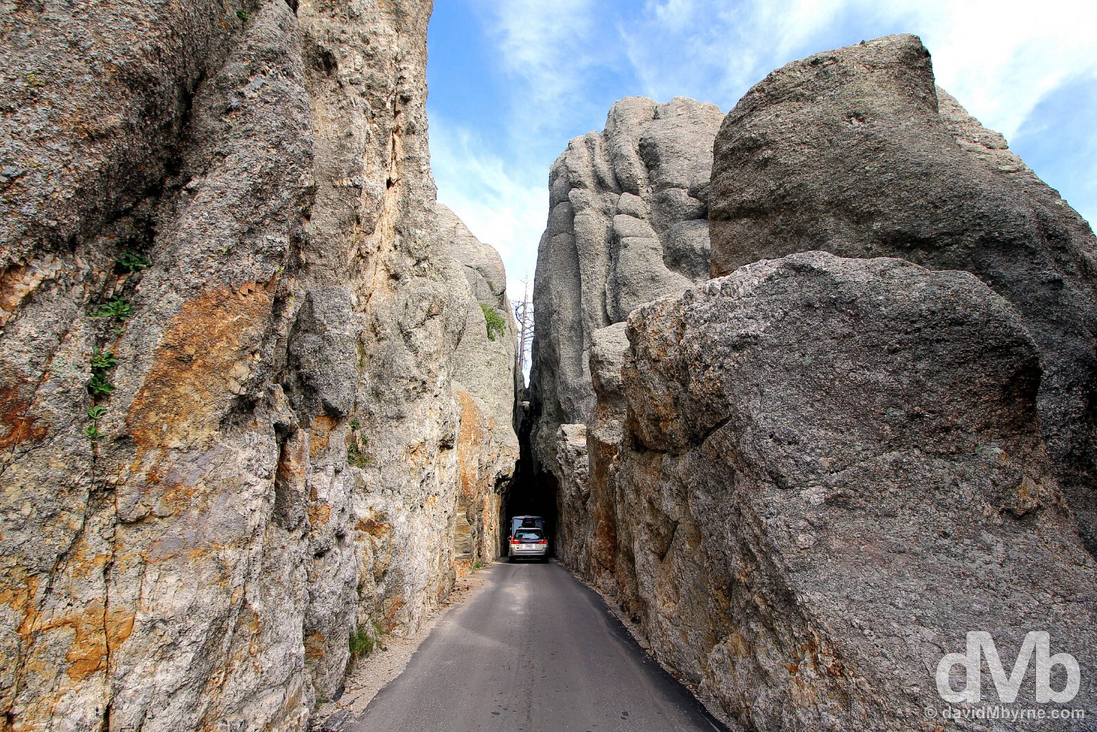 Tackling the Needles Eye Tunnel of the Needles Highway of Custer State Park, Black Hills, South Dakota. September 2, 2016.