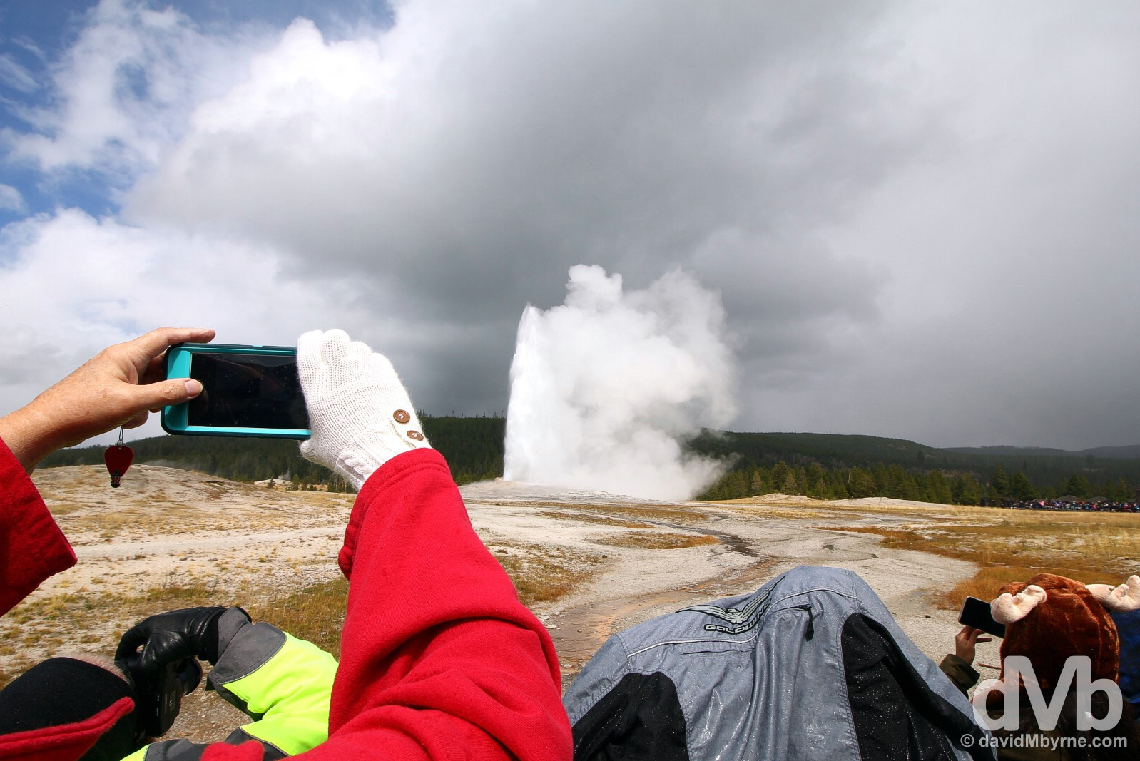 Capturing an Old Faithful eruption in Upper Geyser Basin, Yellowstone National Park, Wyoming, USA. September 5, 2016.