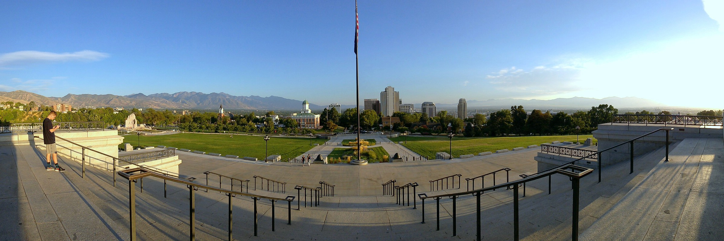 Salt Lake City at sunset as seen from the steps of the State Capitol Building. Salt Lake City, Utah. September 6, 2016.