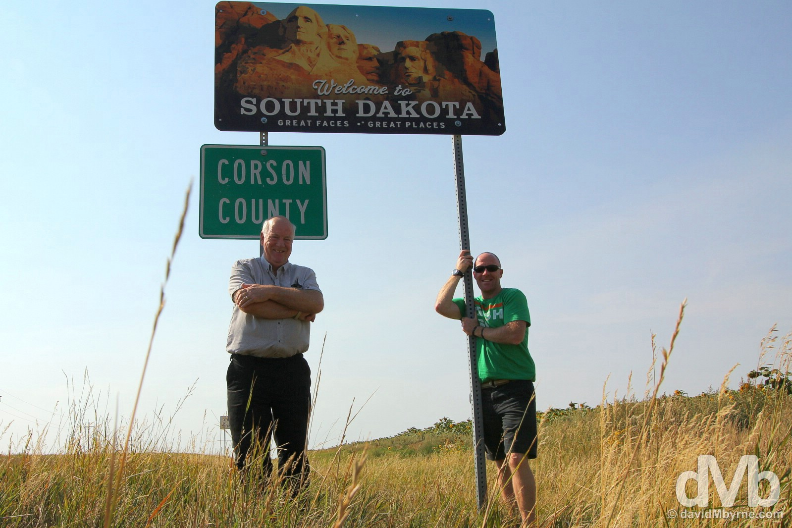 Hello South Dakota. On the South Dakota/North Dakota state line in Corson County, South Dakota, USA. September 1, 2016.
