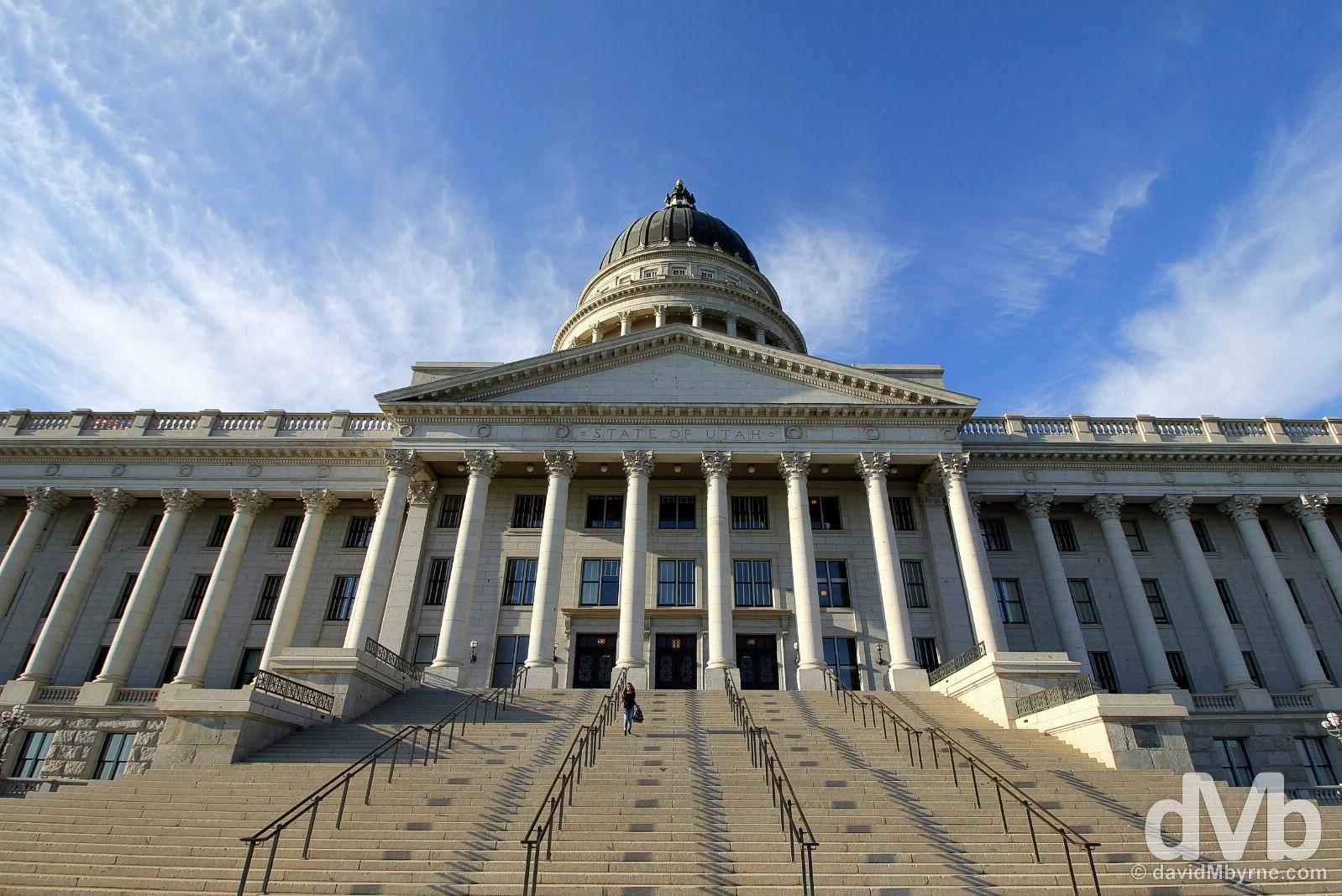On the steps of the impressive State Capitol Building in Salt Lake City, Utah. September 6, 2016.