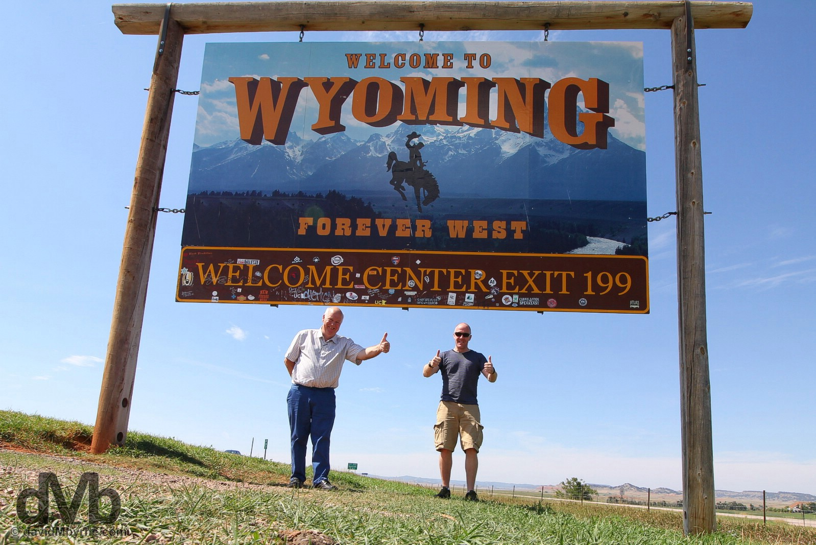 At the 'Welcome to Wyoming' sign on the South Dakota-Wyoming state line on Interstate 90, USA. September 3, 2016.