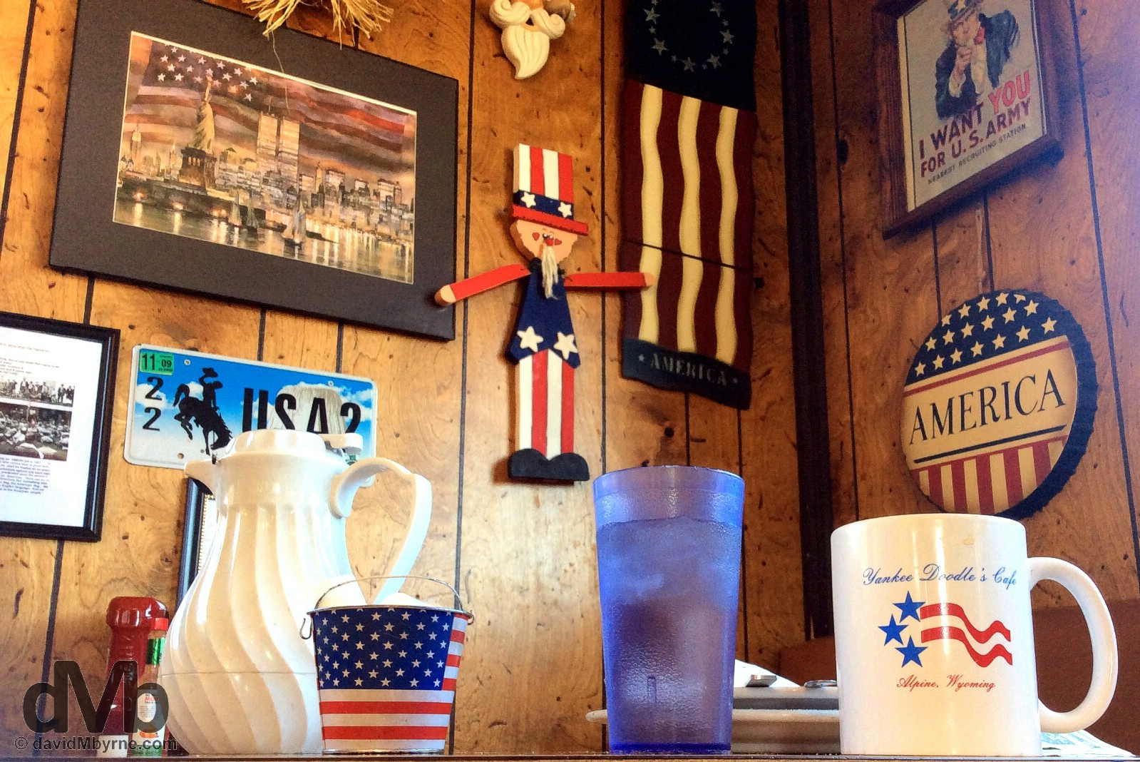 Americana overload. Yankee Doodle's Cafe in Alpine, Wyoming. September 6, 2016.